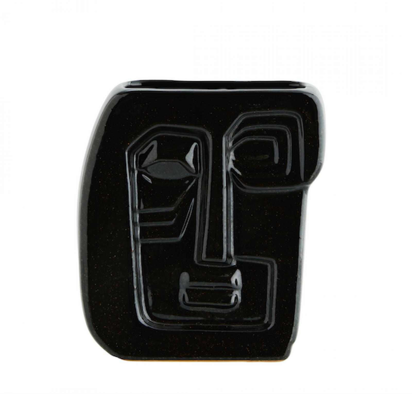 Black Embossed Cubic Face Vase
