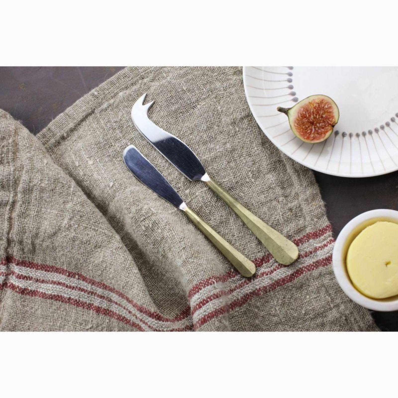 Set Of 2 Cheese & Butter Knife Set In Brushed Gold thumbnails