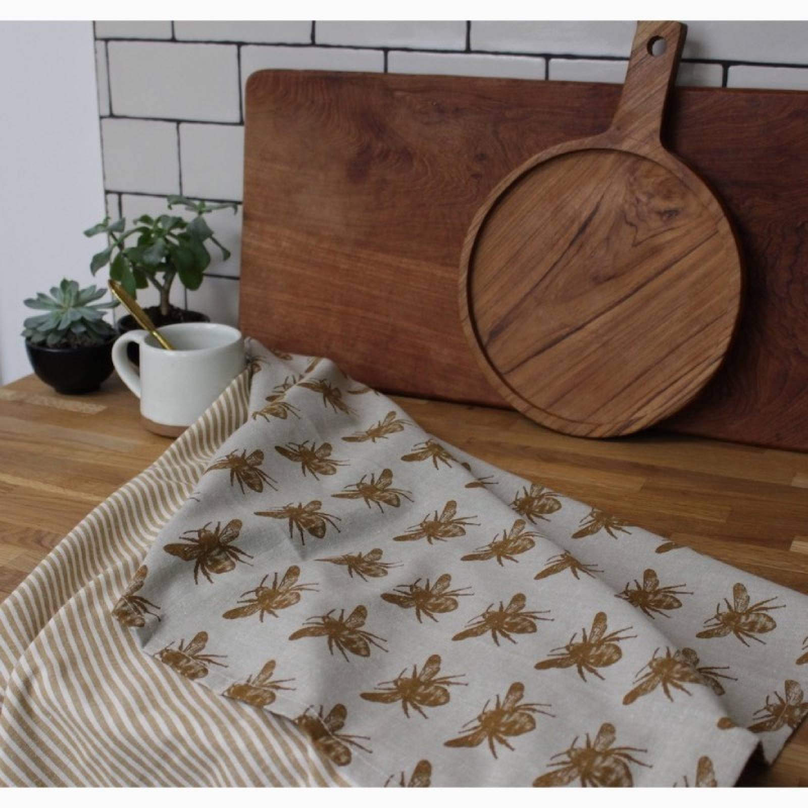 Set Of 2 Recycled Honey Bee Tea Towels In Mustard thumbnails