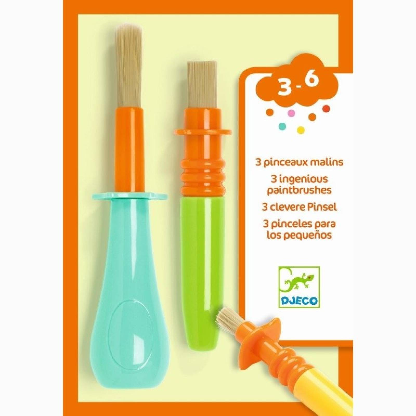 Set Of 3 Clever Paintbrushes By Djeco 3+