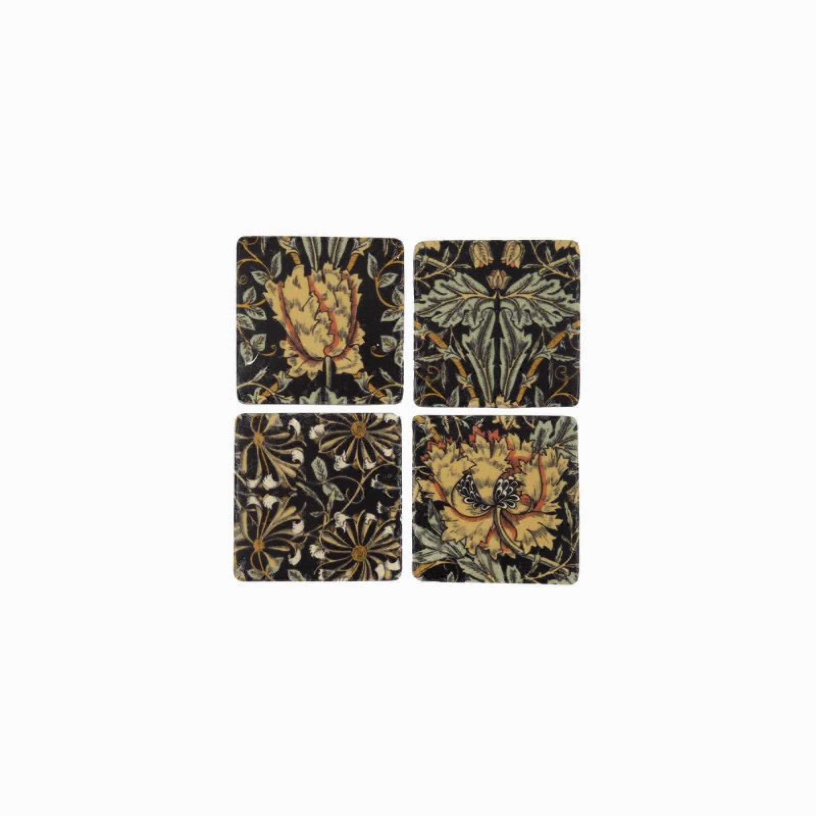 Set Of 4 Black Floral Ceramic Coasters