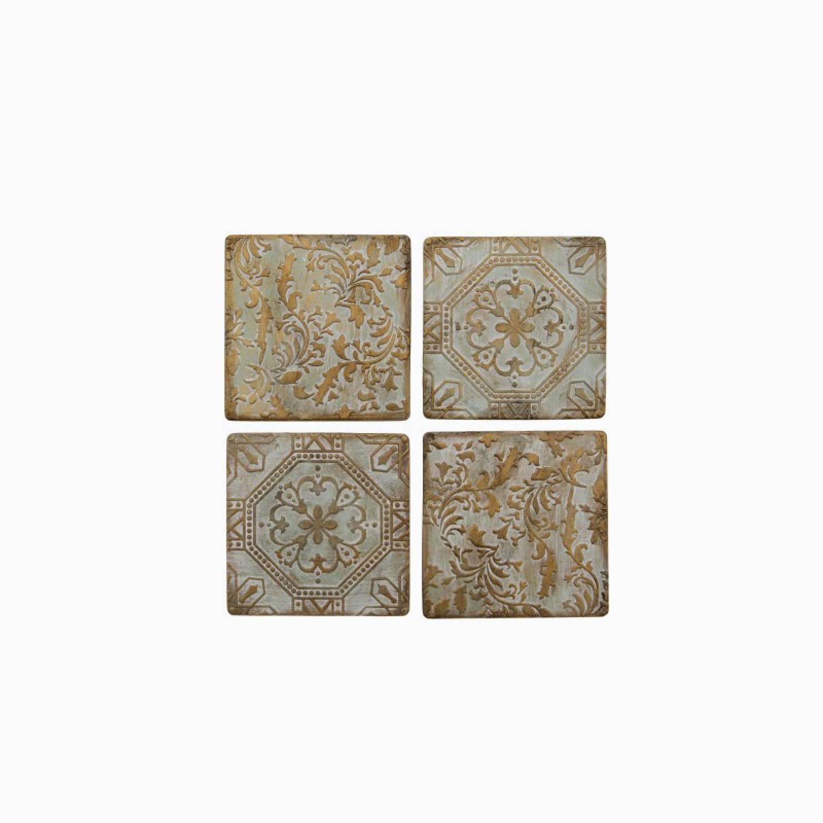 Set Of 4 Bronze Tile Ceramic Coasters