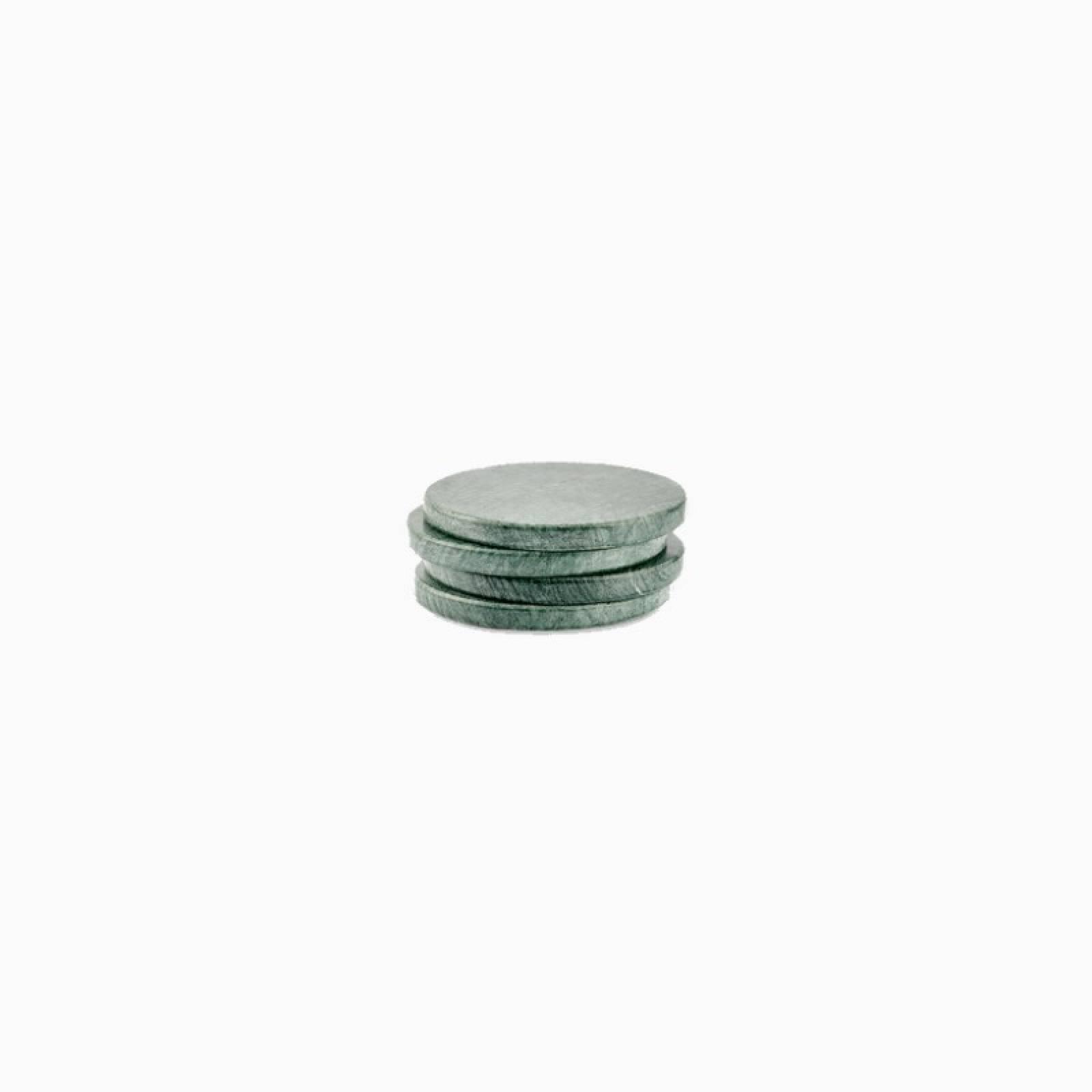 Set Of 4 Circular Solid Green Marble Coasters thumbnails