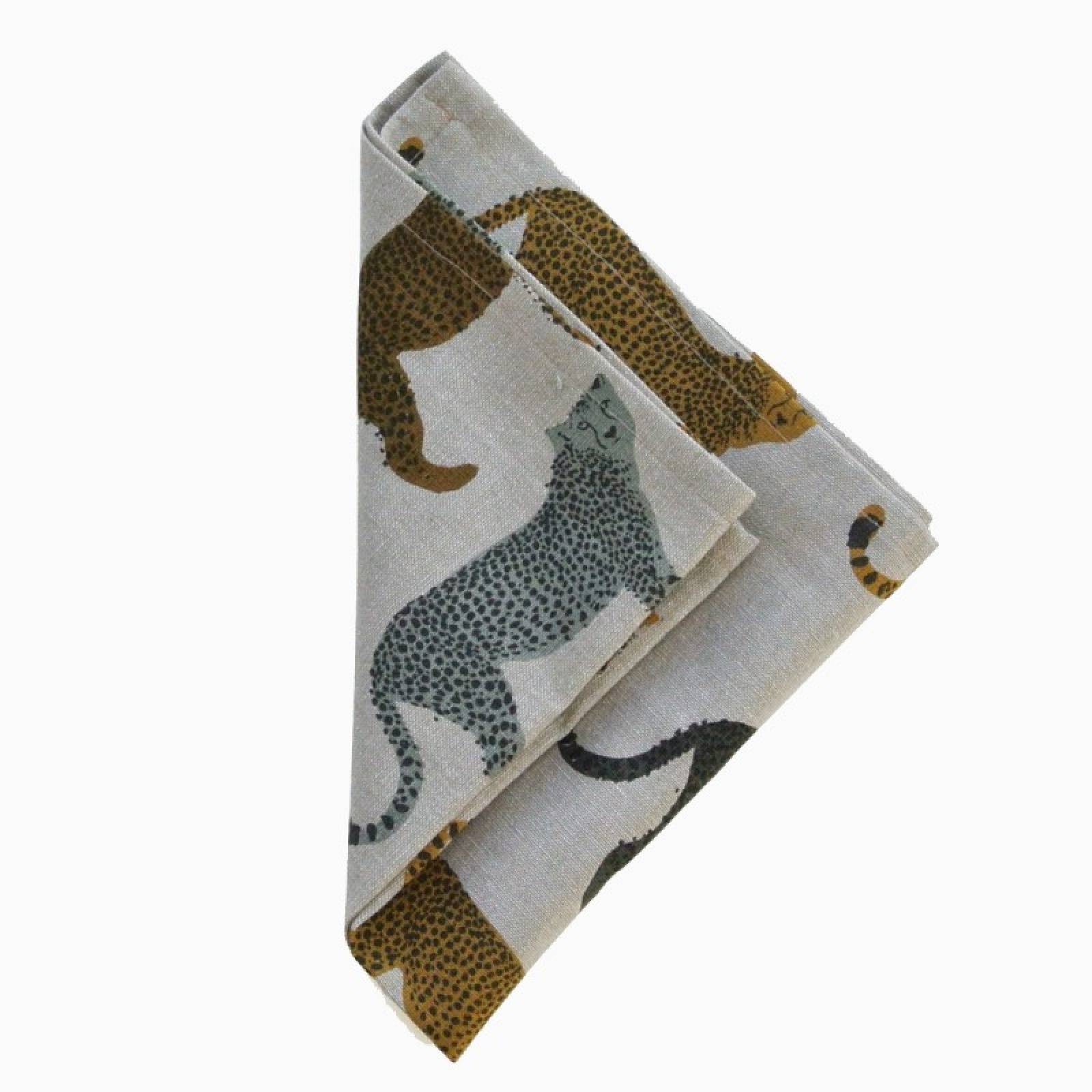 Set Of 4 Recycled Cotton Napkins In Cheetah Print