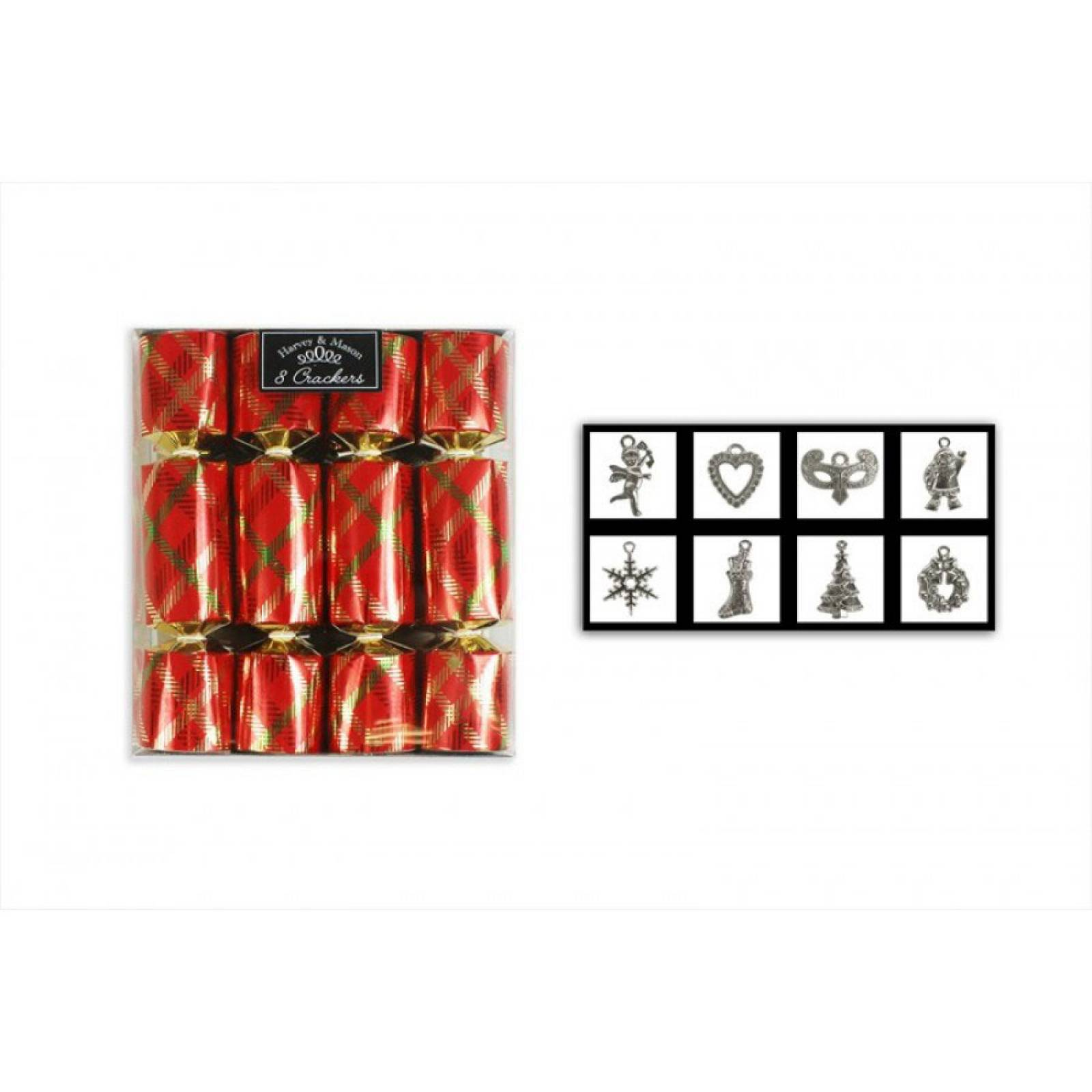 Set Of 8 Mini Foil Red Tartan Christmas Crackers