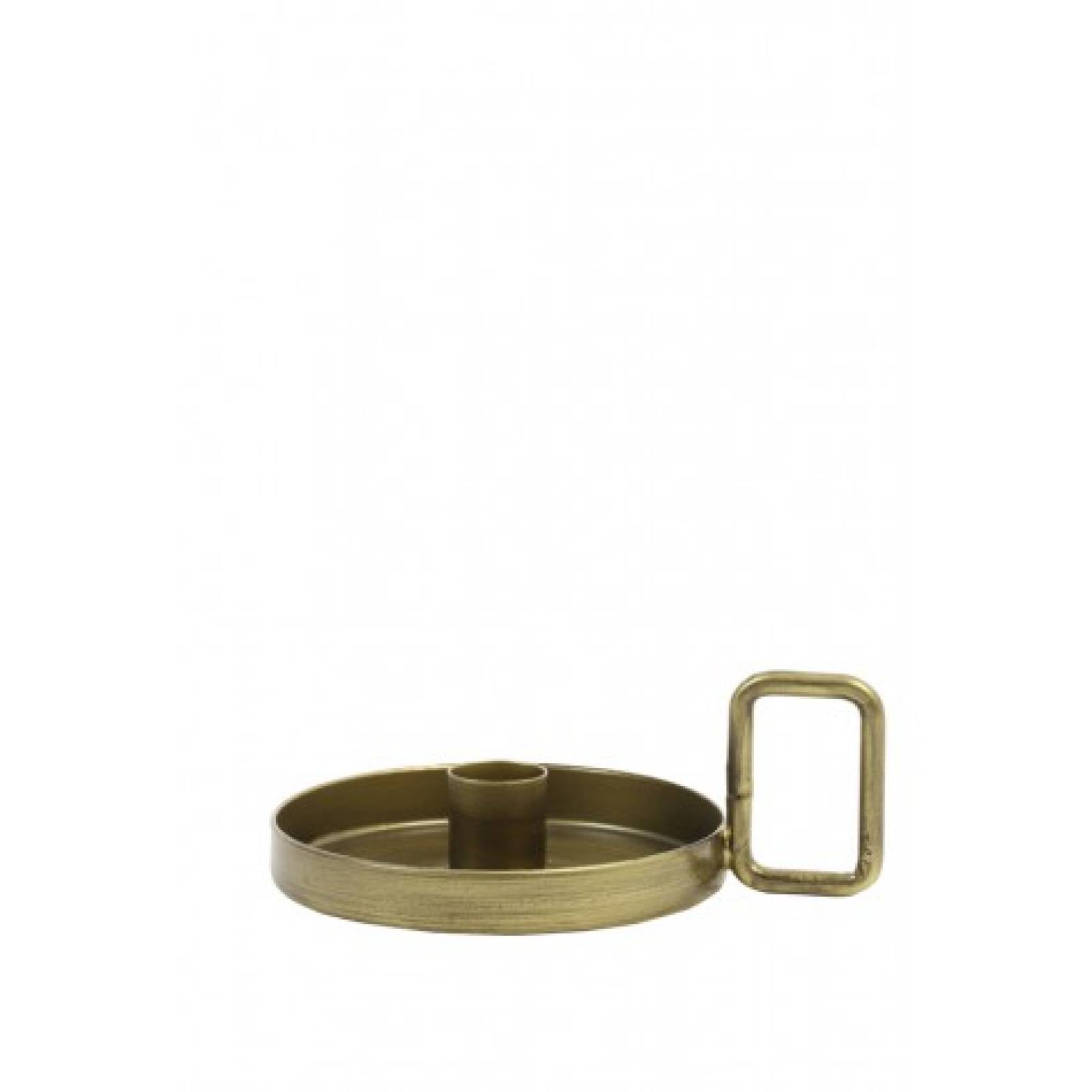 Gold Candleholder Dish With Squared Handle