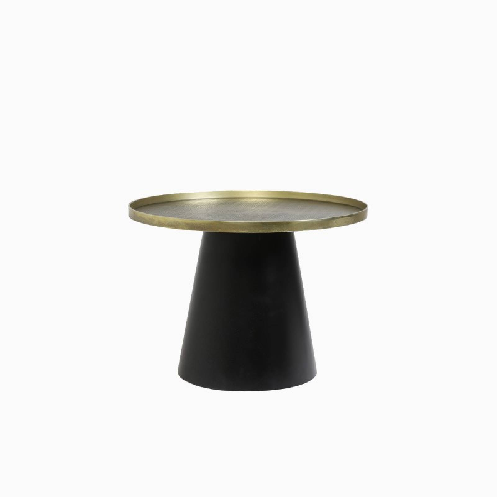 Short Popeta Side Table With Gold Top And Tapered Black Base