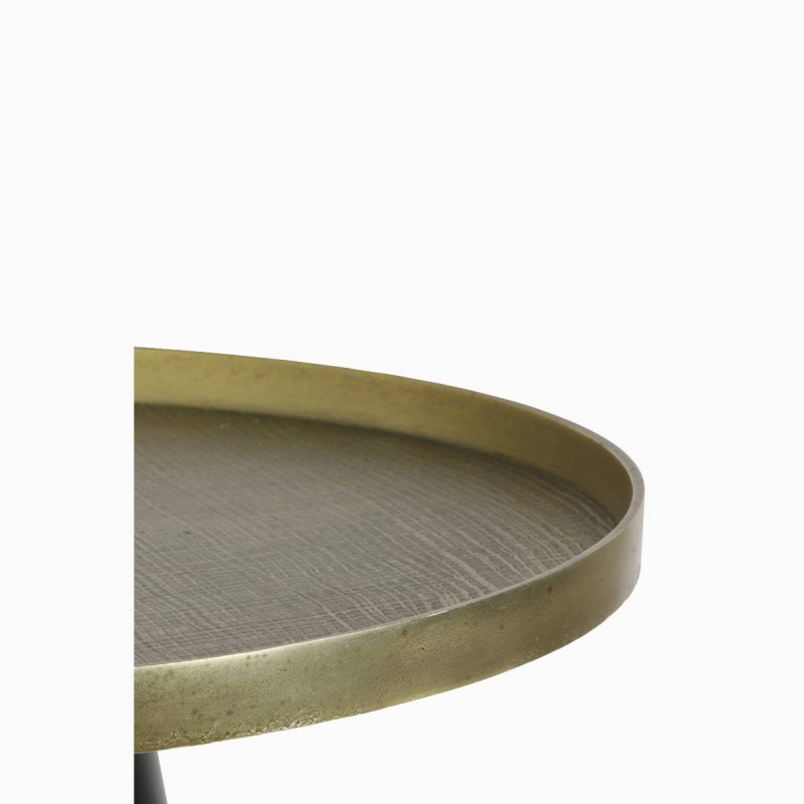Short Popeta Side Table With Gold Top And Tapered Black Base thumbnails