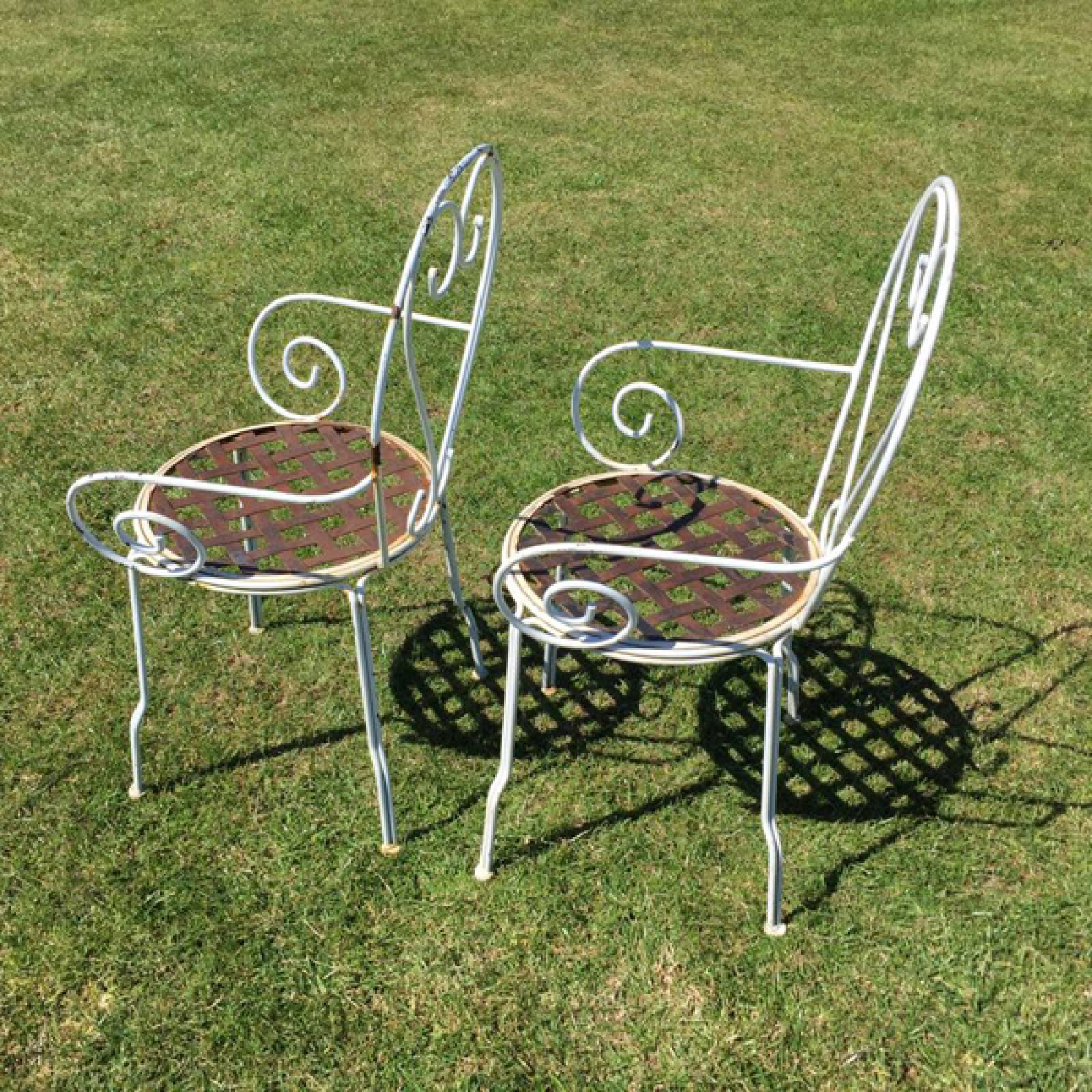 Heart Scroll Wire Garden Chair With Arms x 2 thumbnails