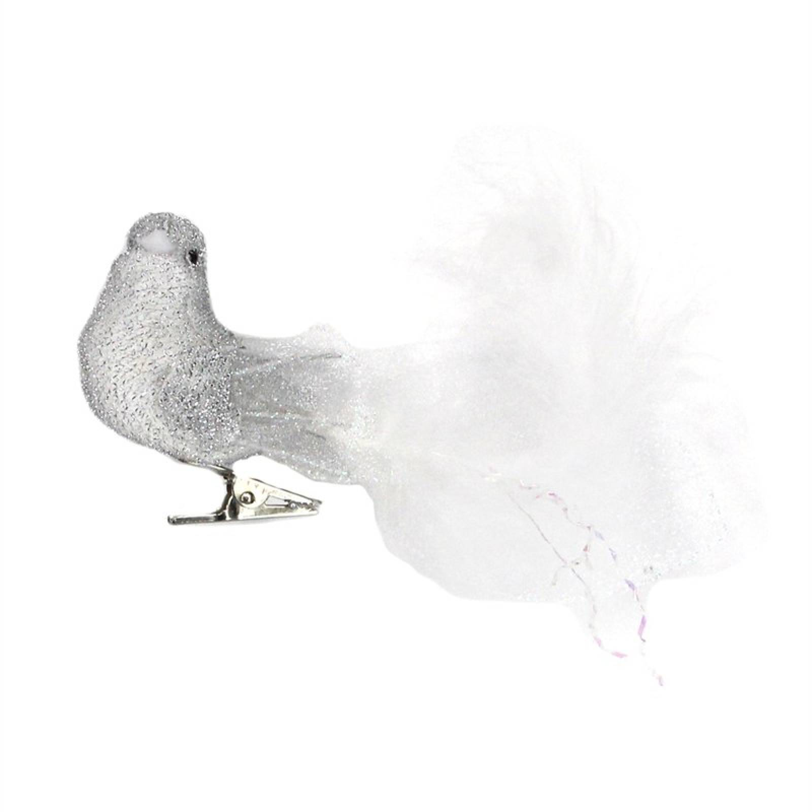 Silver Fabric Feather Bird Christmas Decoration 12x5cm