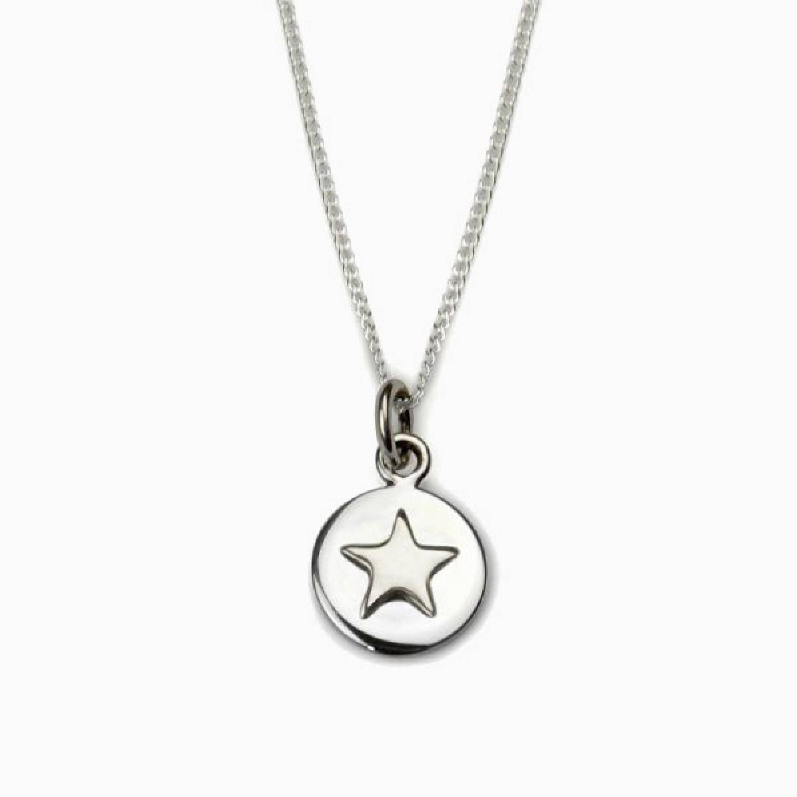 Silver Star Good Luck Circle Necklace thumbnails