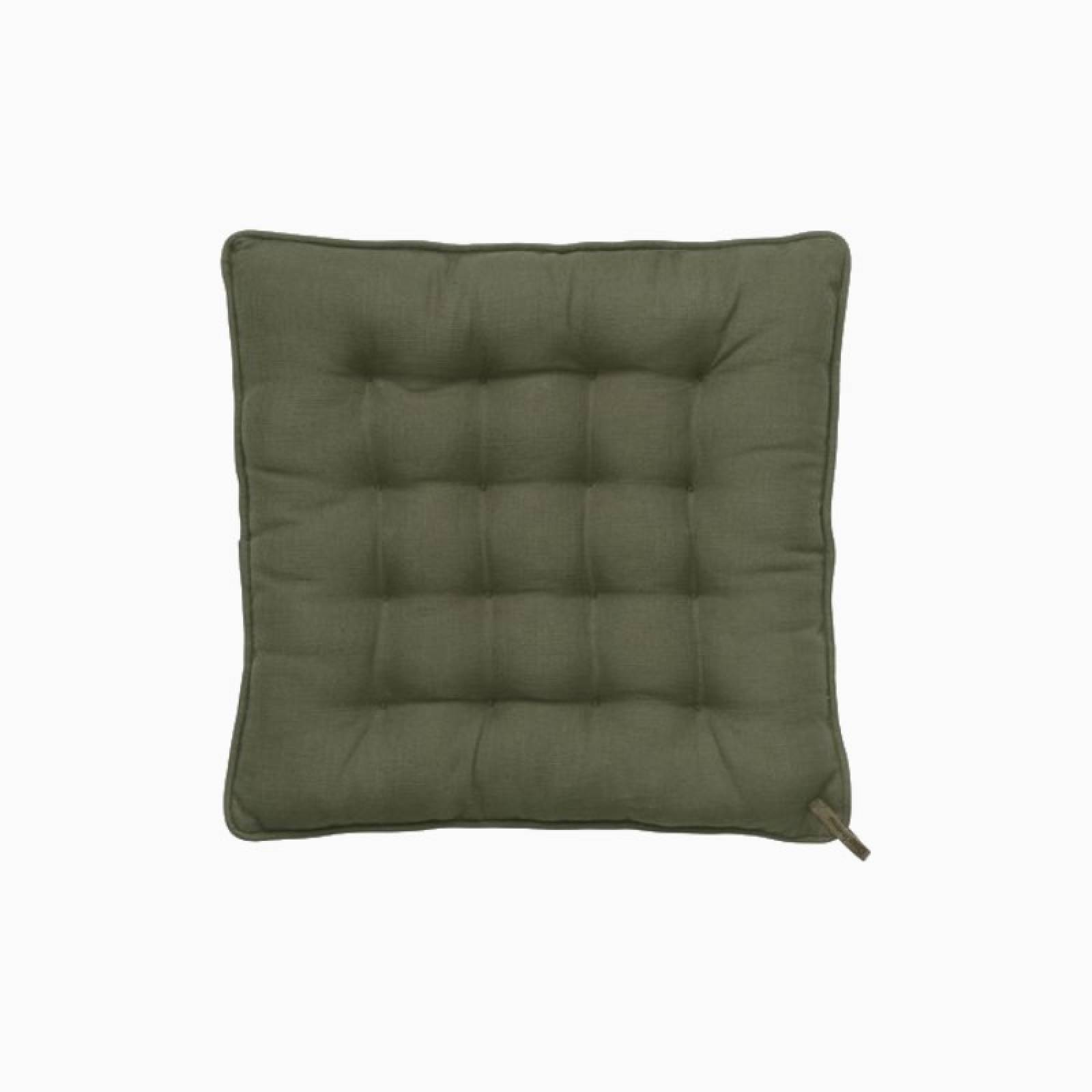 Simple Padded Seat Square Cushion In Army Green