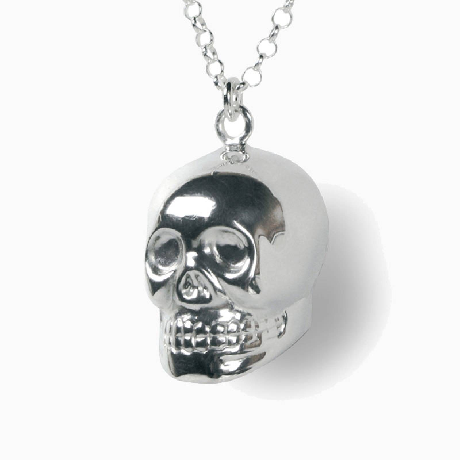 Chiming Silver Skull Necklace thumbnails