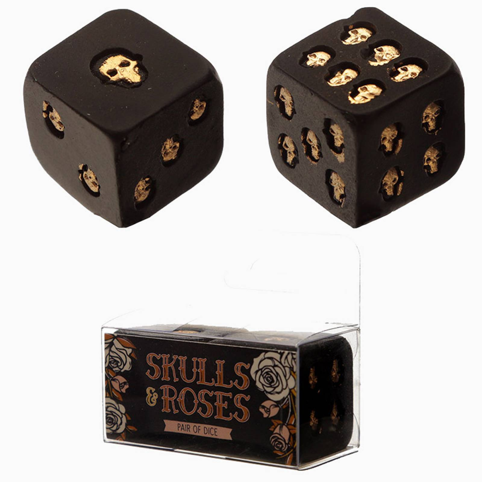 Set Of 2 Black And Gold Skull Dice thumbnails