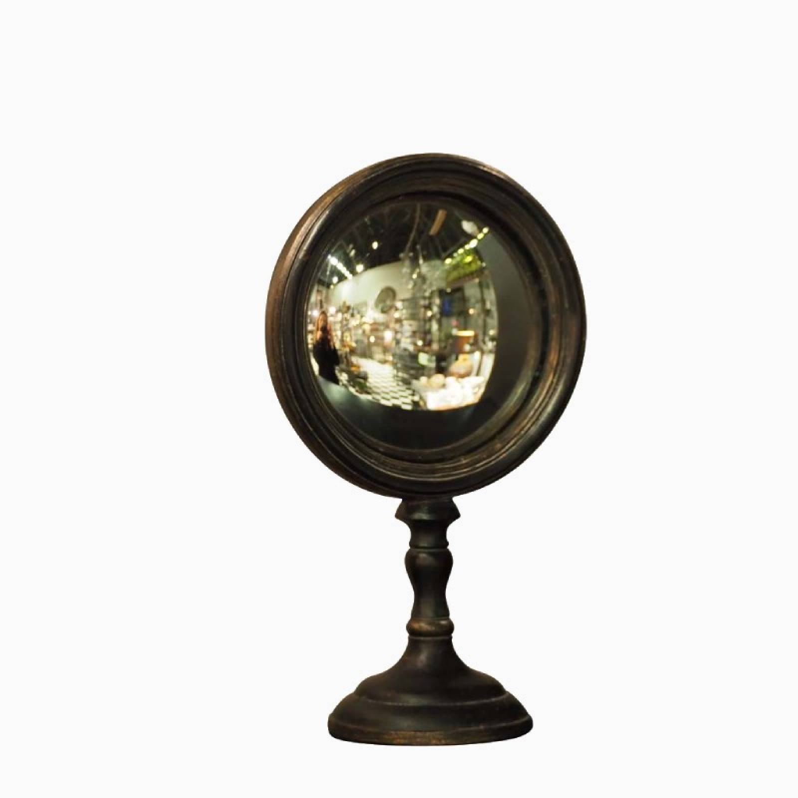Small Convex Table Mirror On Stand