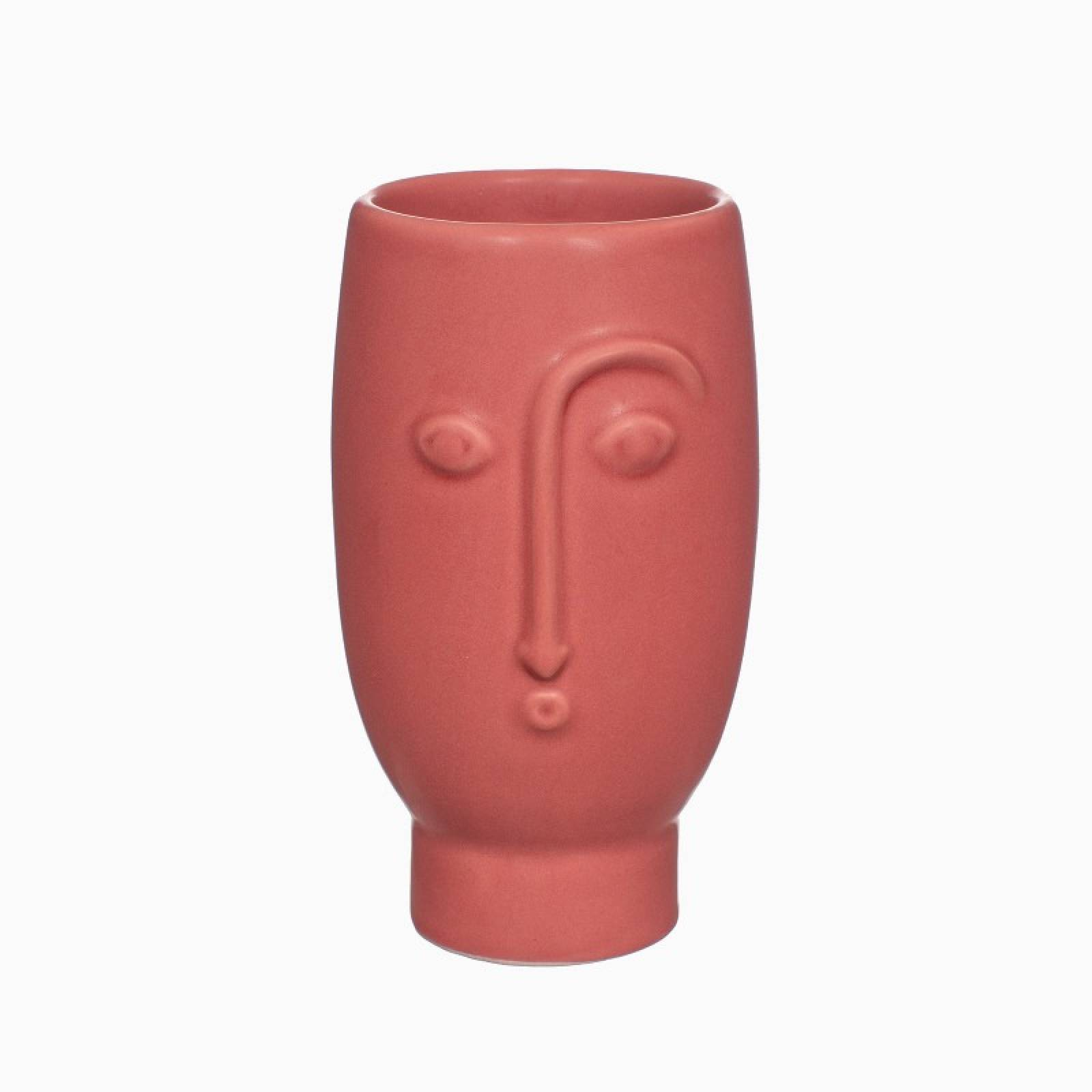 Small Face Vase In Matte Red Finish H:12cm
