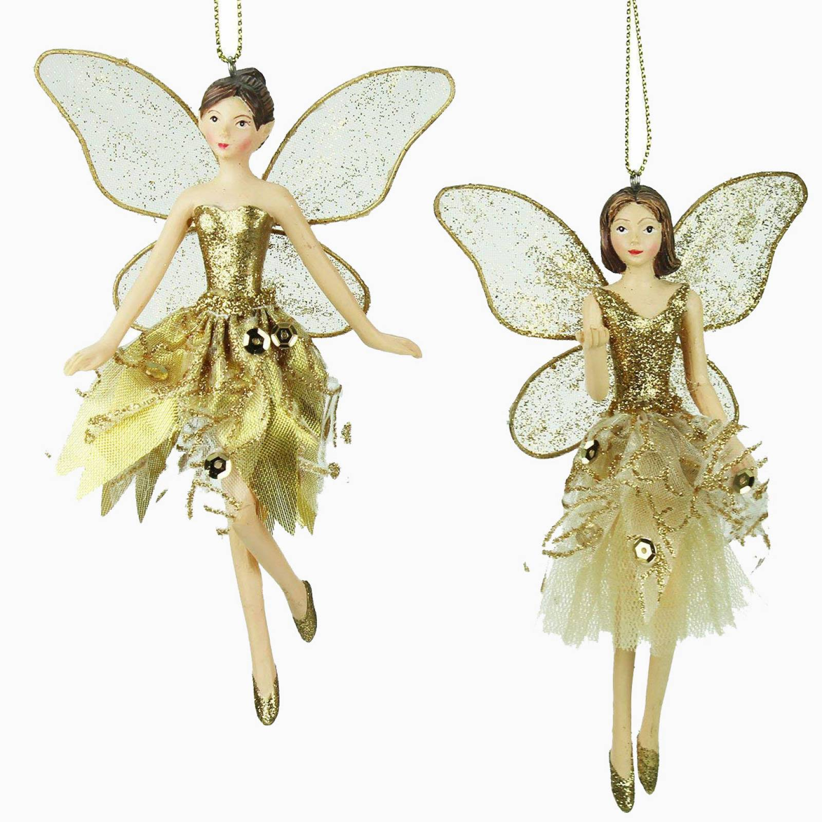 Small Gold Fairy Ballerina Christmas Decoration By Gisela Graham