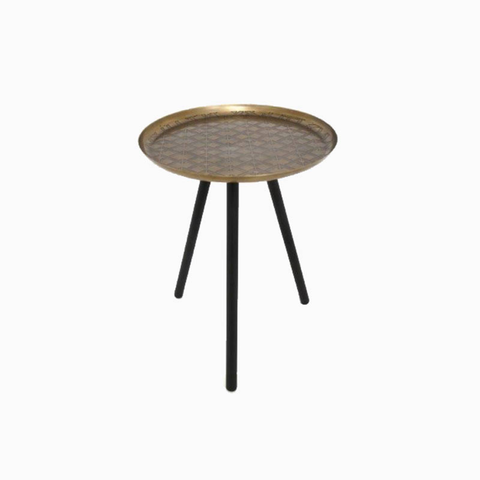 Small Gold Side Table With Patterned Top