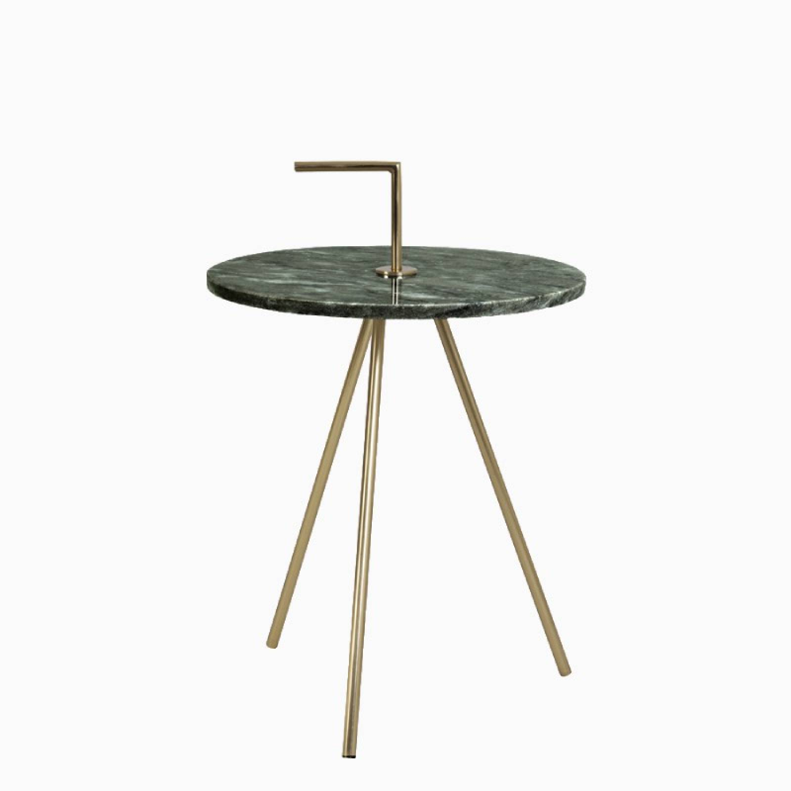 Small Green Marble Table Brass Tripod Legs | Delivery Surcharge