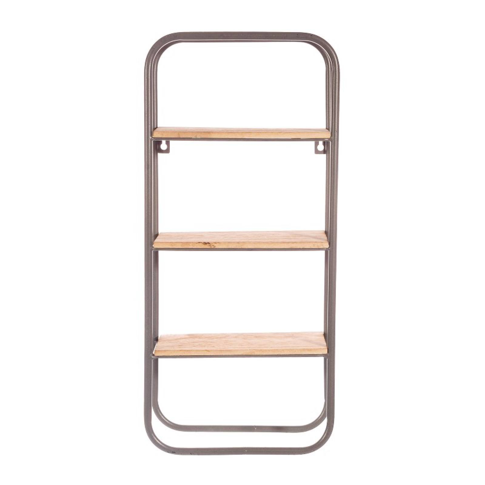 Small Grey Metal & Wood Wall Mounting Shelf Unit thumbnails