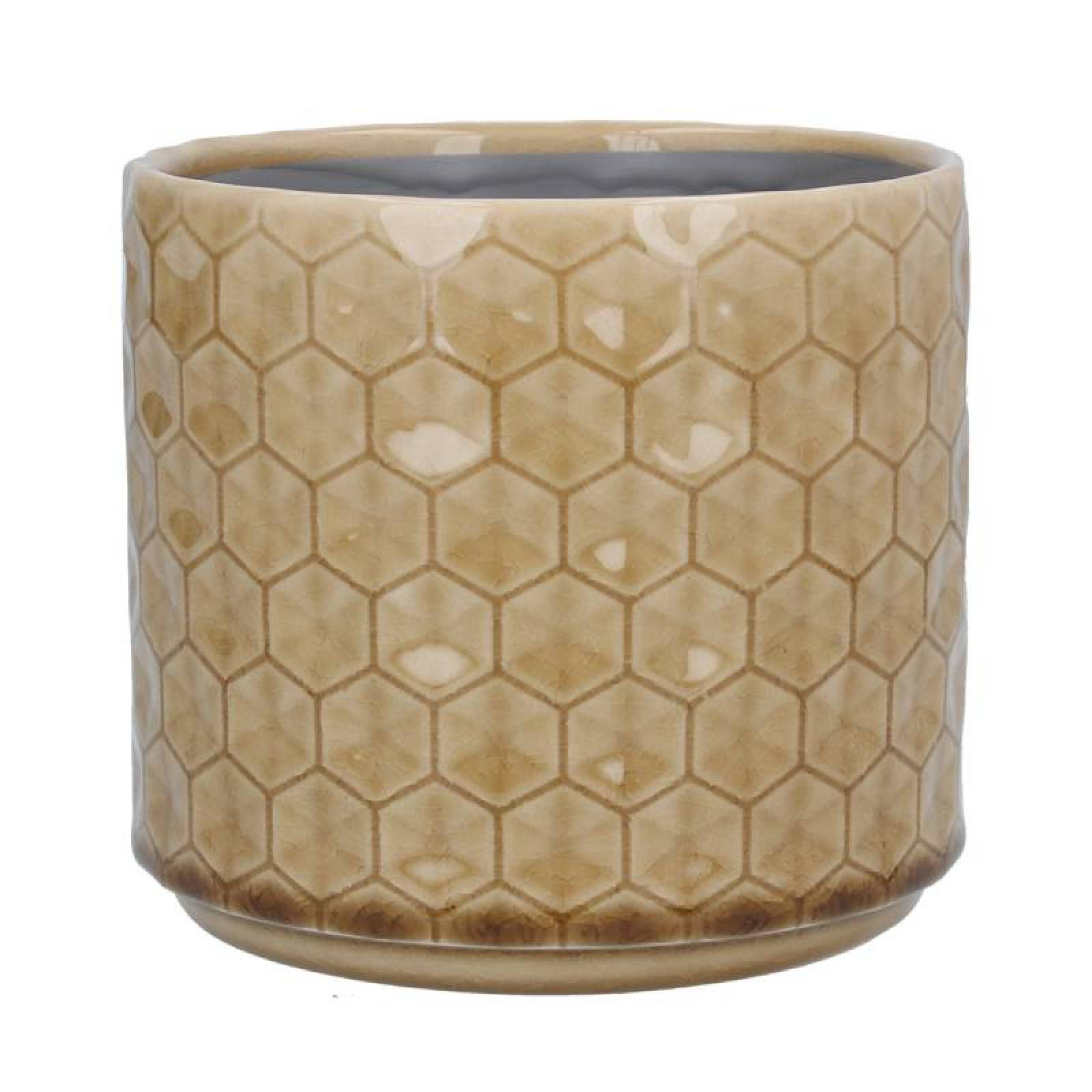 Small Honeycomb Ceramic Flowerpot Cover In Sand