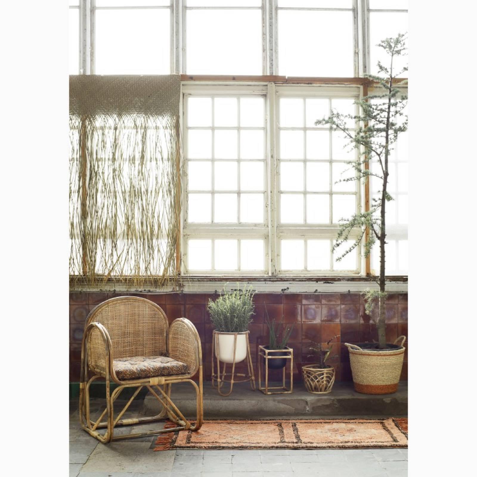 Medium Orange Striped Seagrass Basket With Handles 33x28cm thumbnails