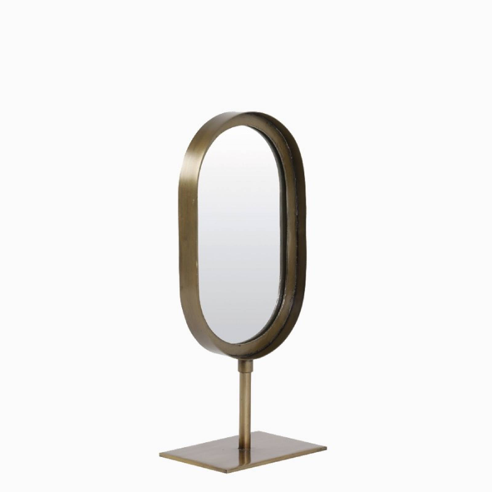 Small Oval Mirror With Metal Frame On Stand In Brass 16x35cm
