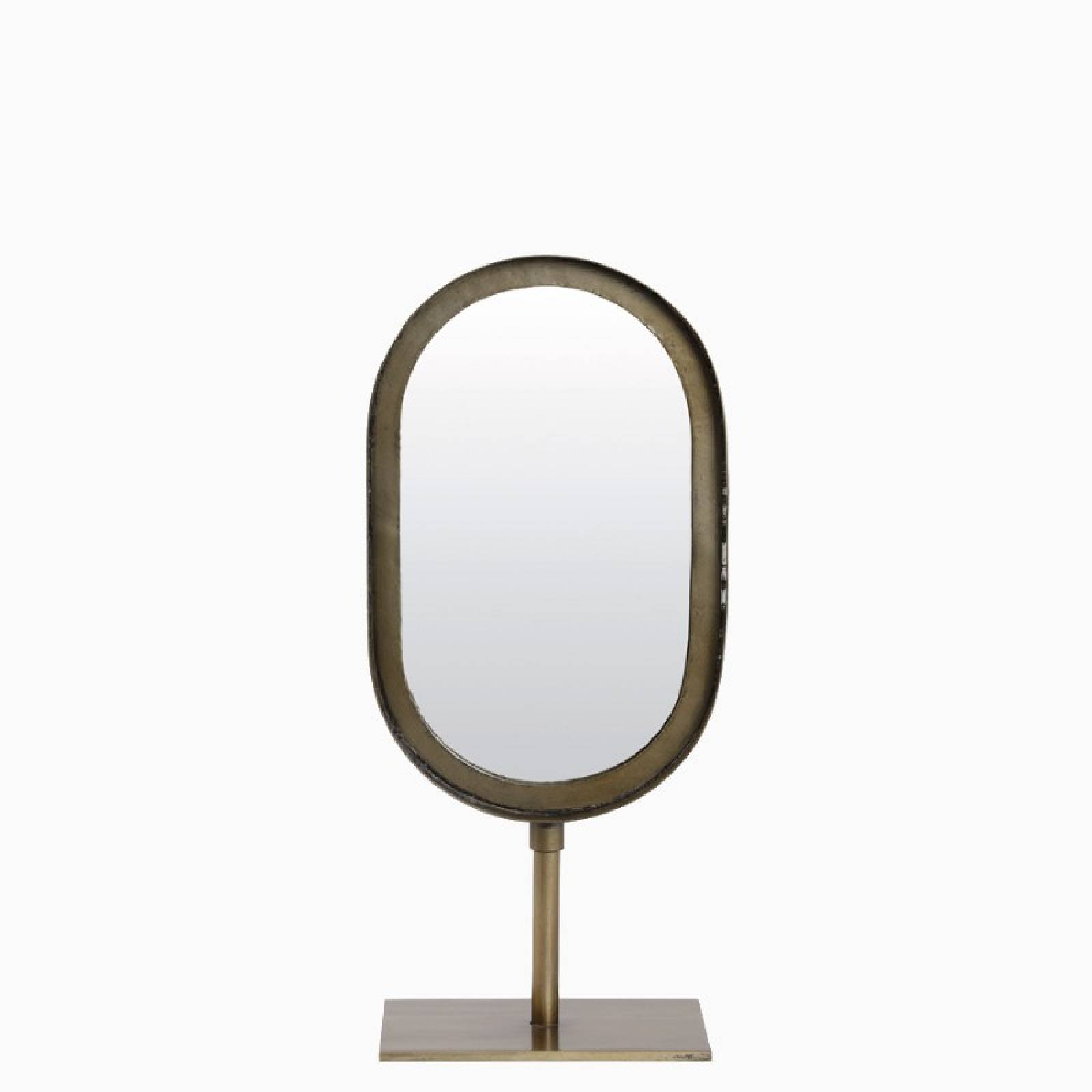 Small Oval Mirror With Metal Frame On Stand In Brass 16x35cm thumbnails