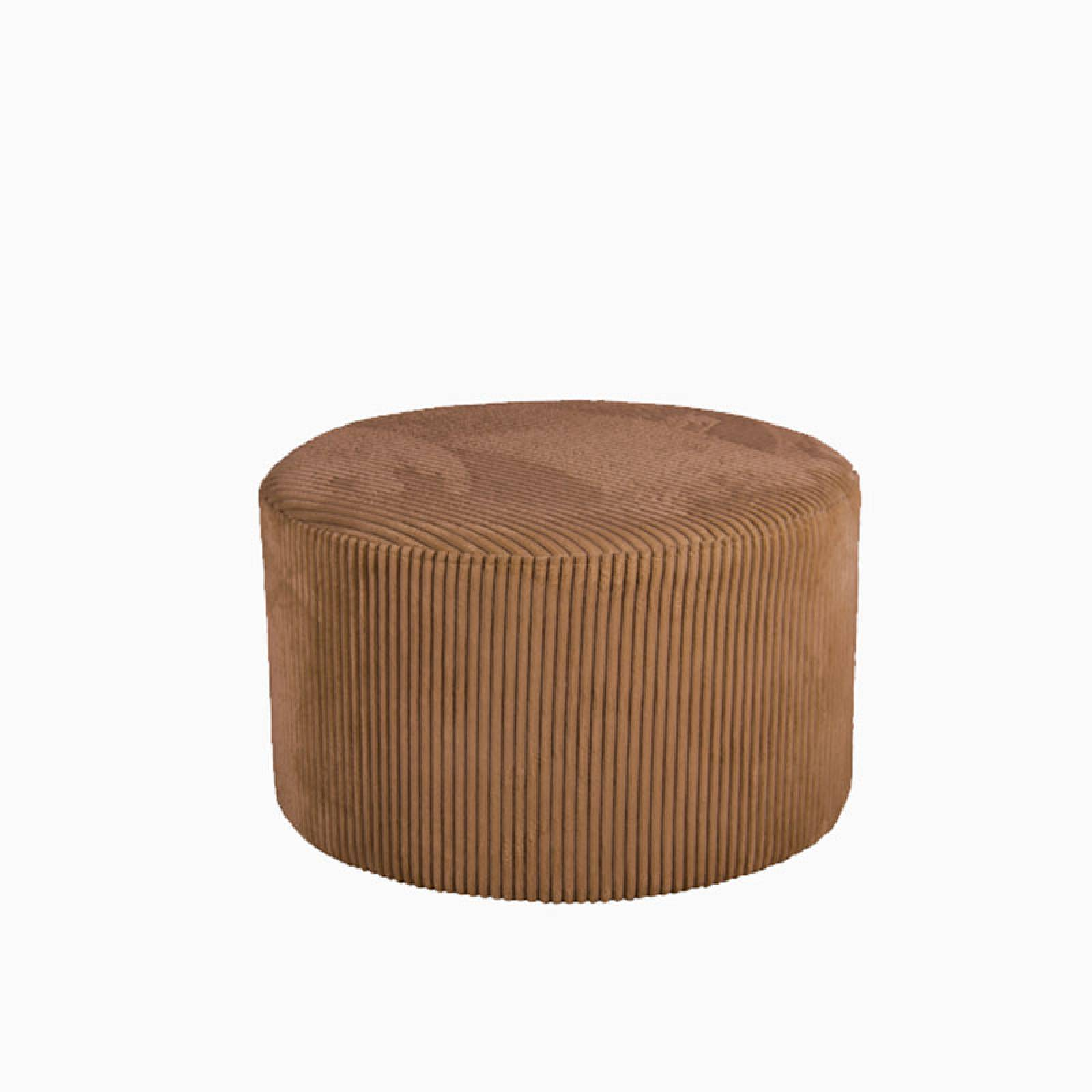 Small Corduroy Pouf In Caramel Brown
