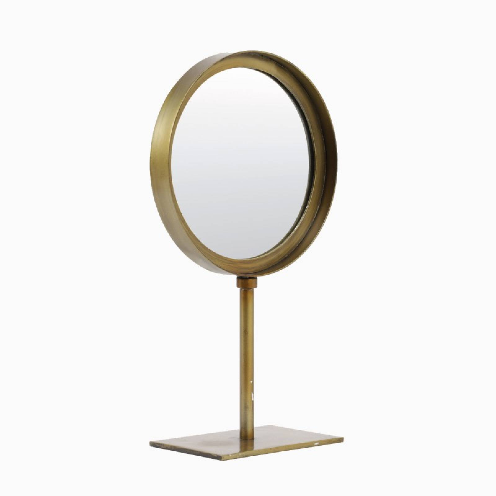 Small Round Mirror With Metal Frame On Stand In Brass 20x35cm thumbnails