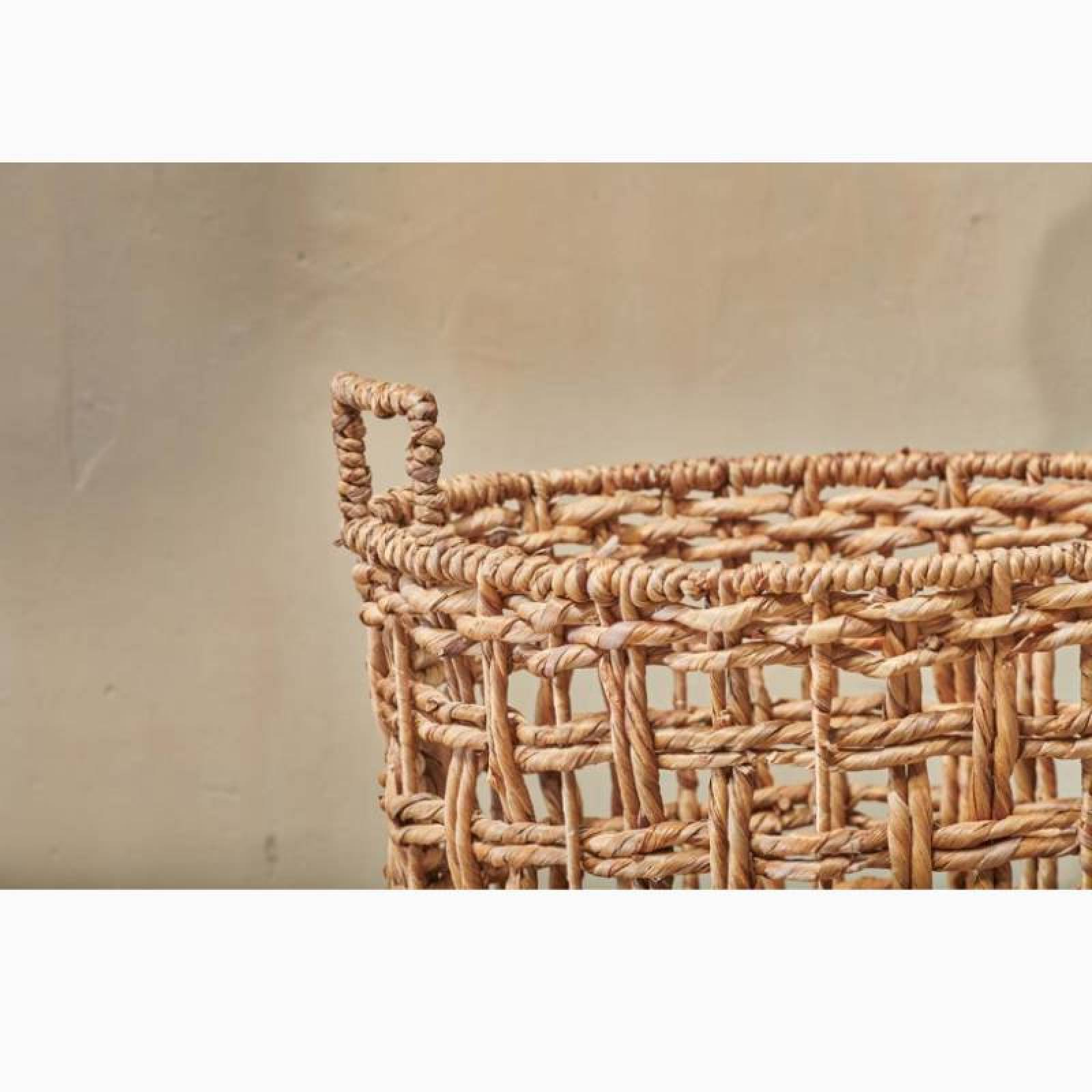 Small Round Woven Storage Basket With Handles thumbnails