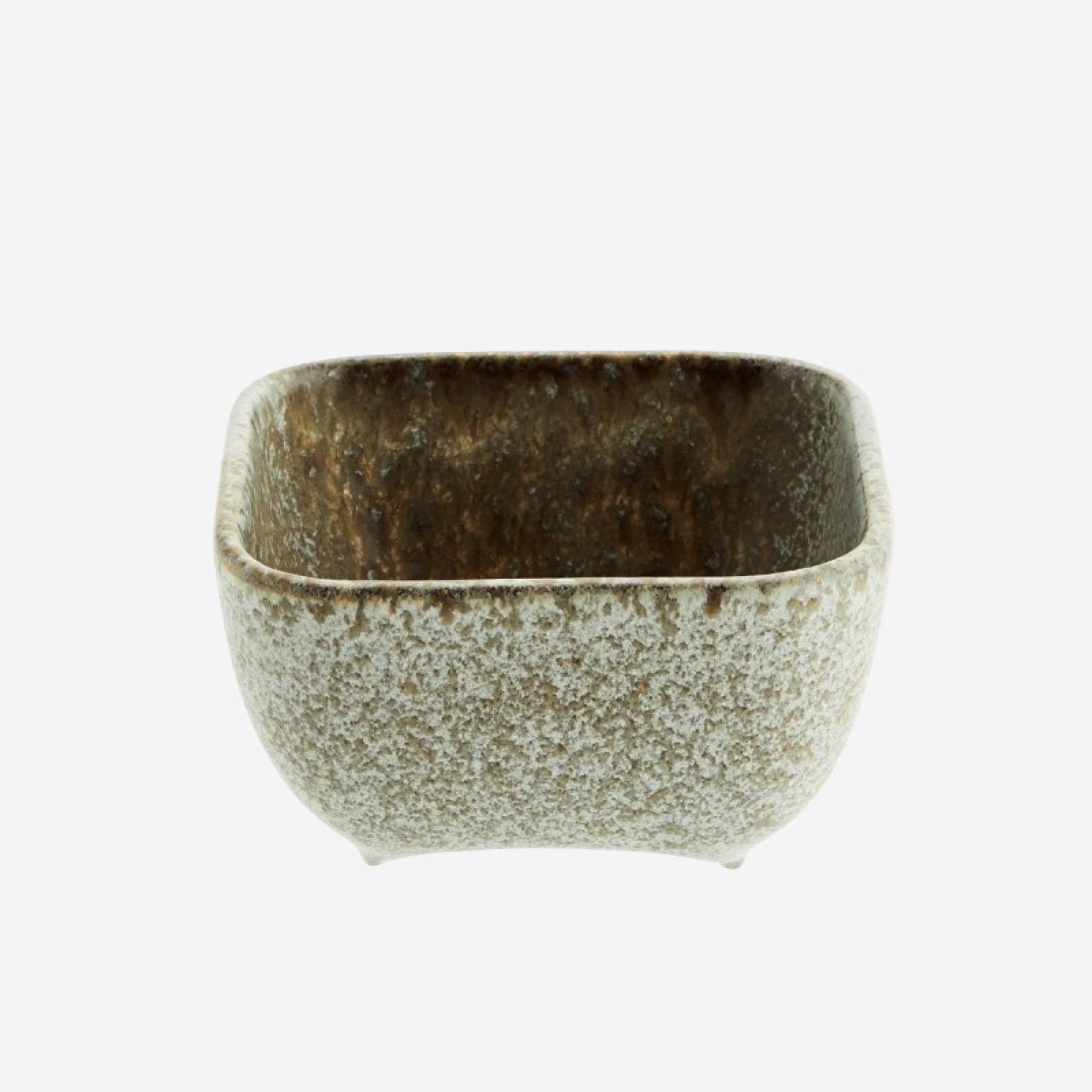 Small Taupe Squared Stoneware Bowl