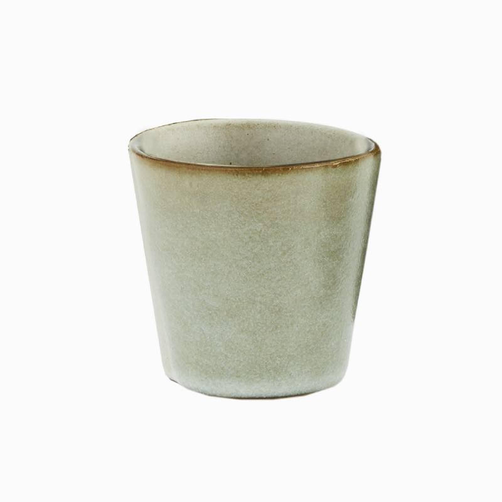 Small Stoneware Cup In Green Lichen