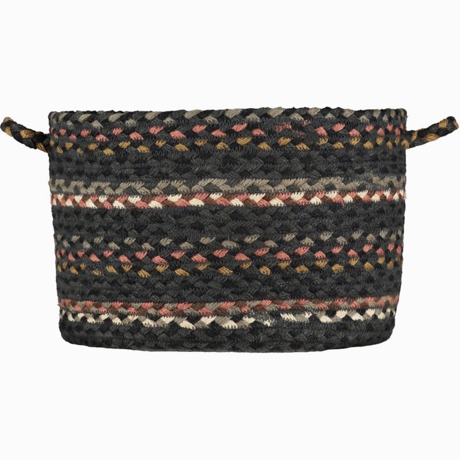 Small Stripe Jute Basket In Black Marble 18x23cm
