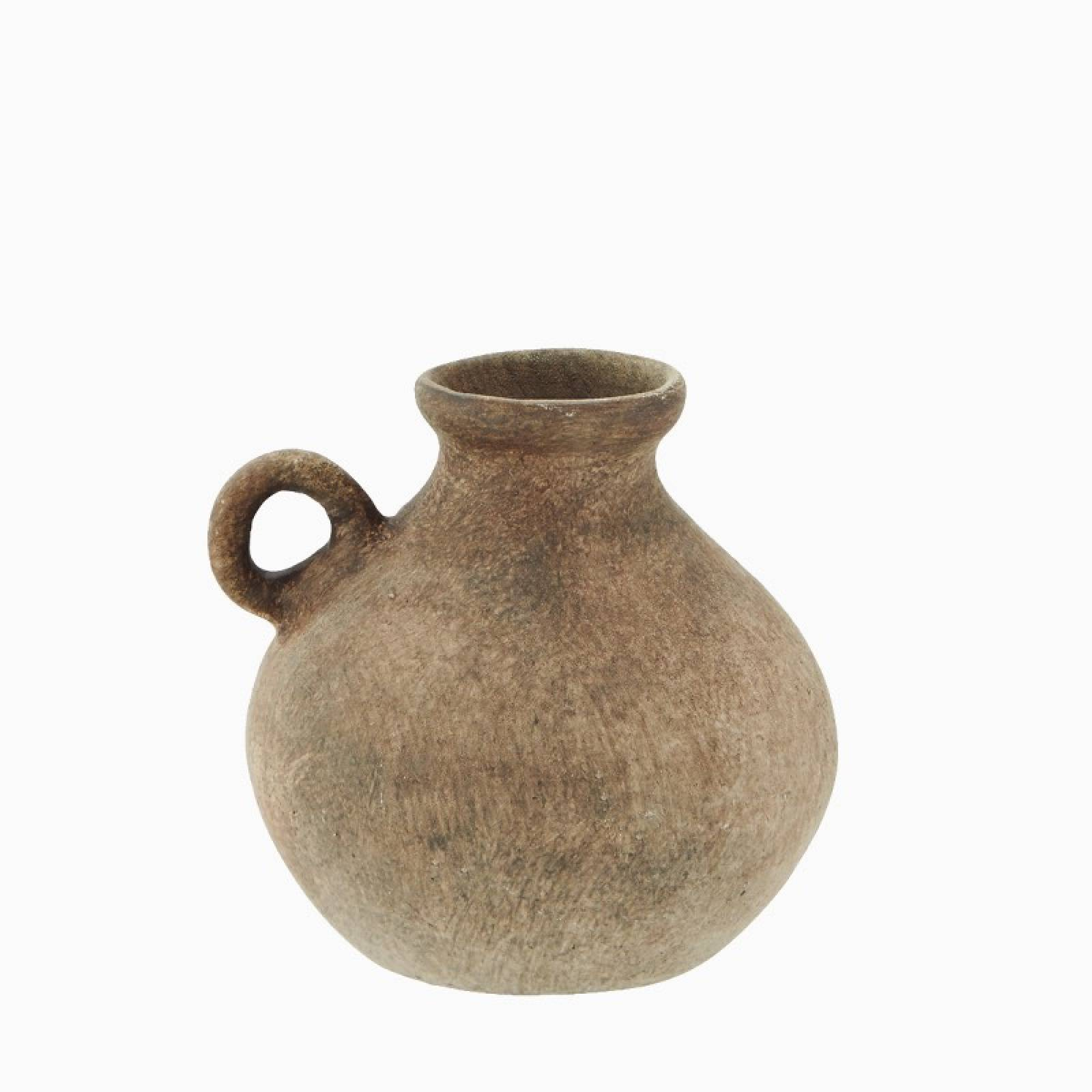 Small Terracotta Vase With Tiny Handle H:8cm