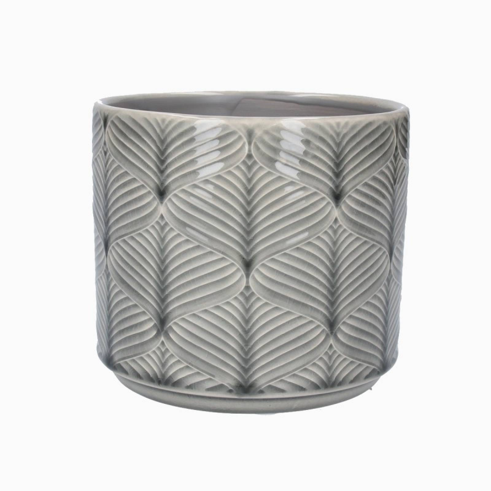 Small Wavy Ceramic Flower Pot Cover In Grey thumbnails
