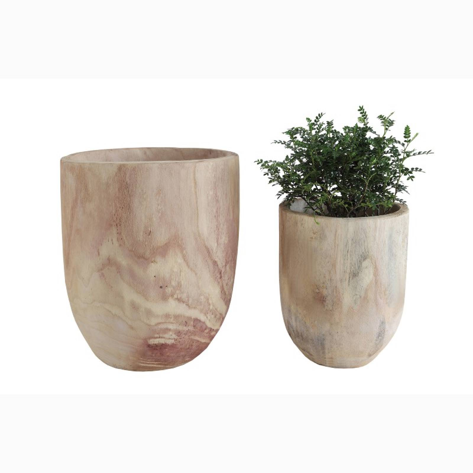 Small Wooden Carved Trunk Planter Pot
