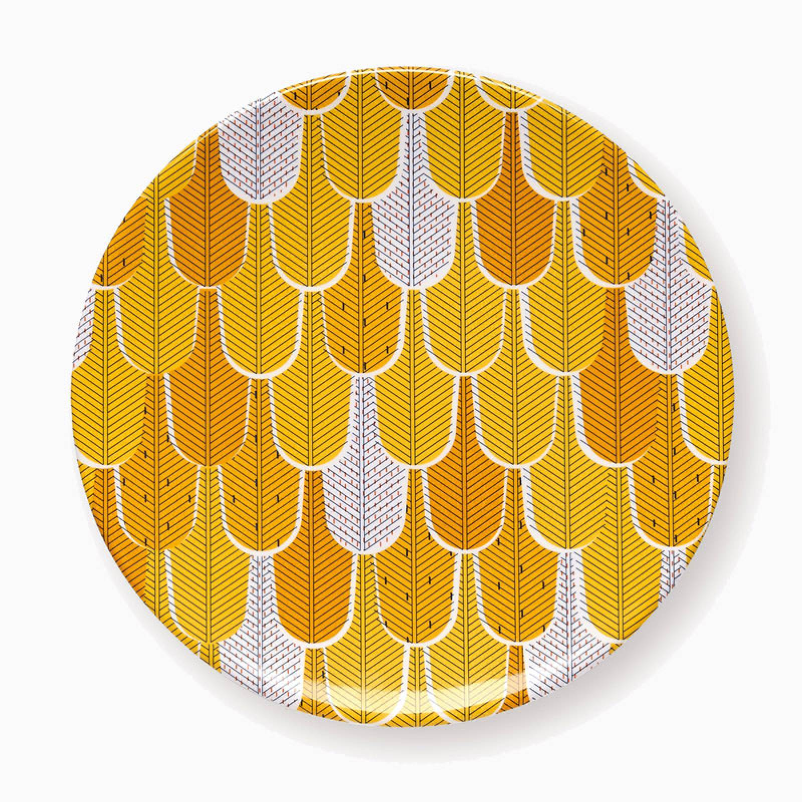 Small Yellow Geometric Melamine Plate thumbnails