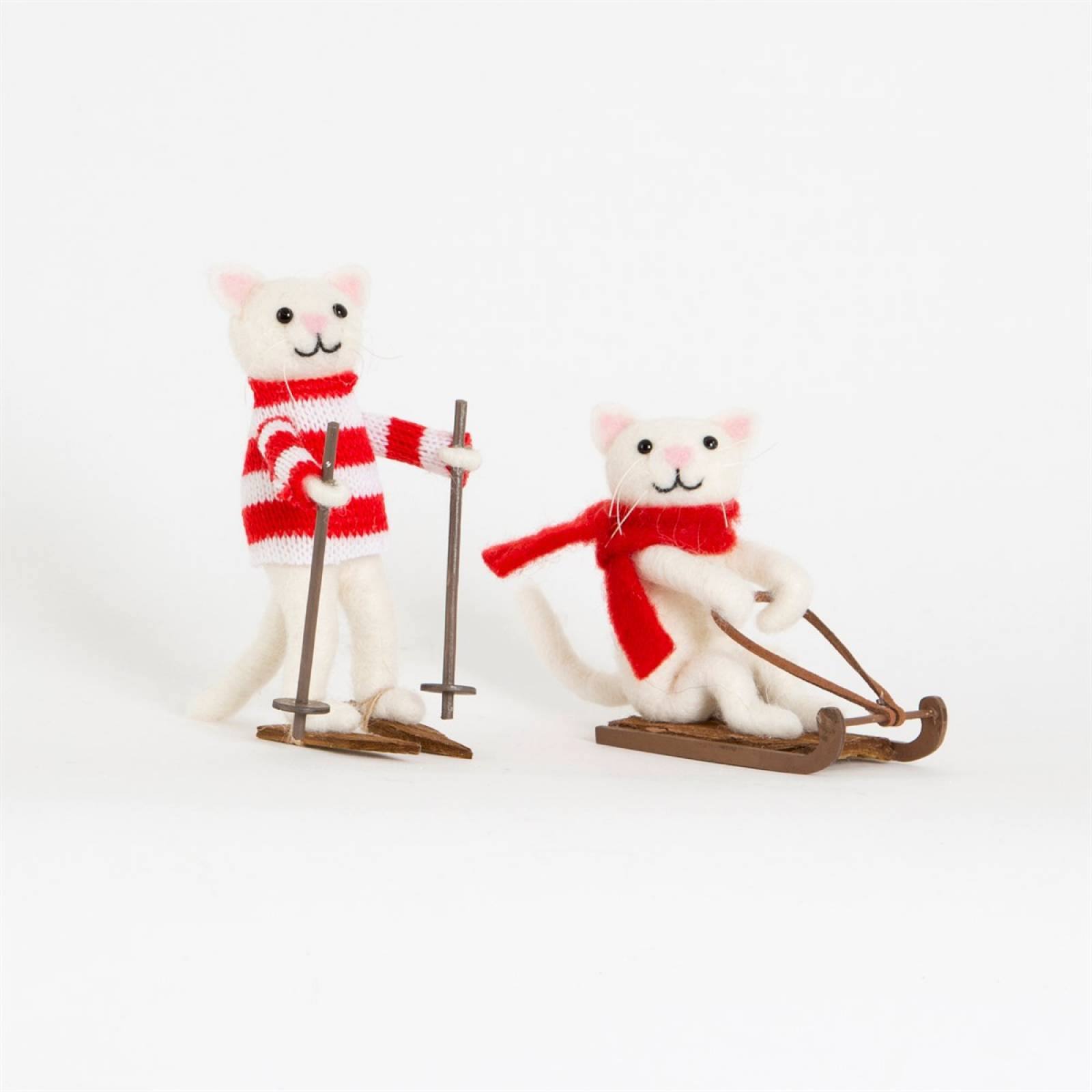 Snow Cat Felt Christmas Decoration Skiing or Sledging thumbnails