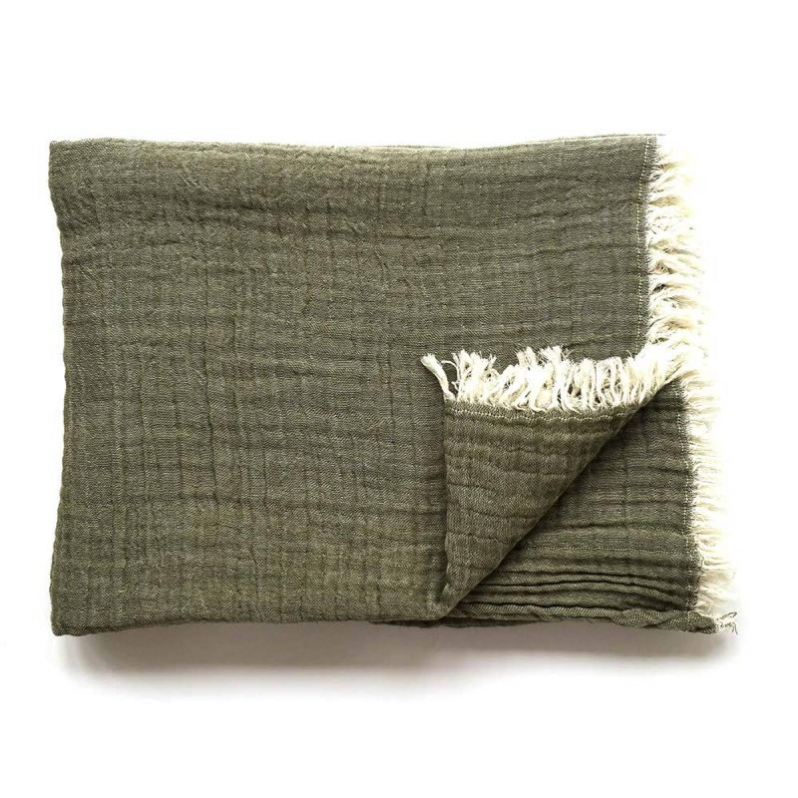 Soft Cotton Throw In Khaki Green thumbnails