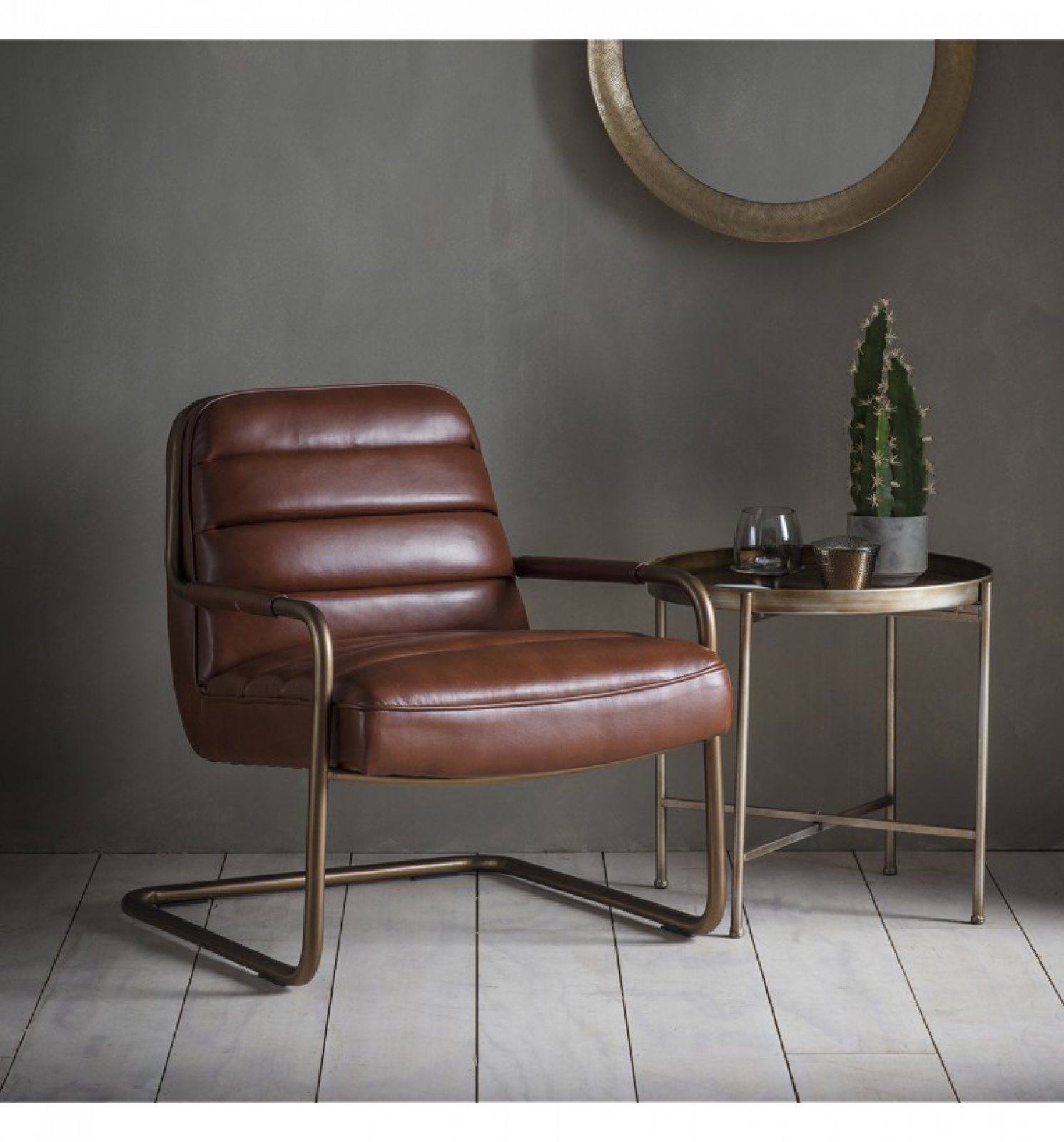 Soho Leather Lounge Chair In Matt Saddle