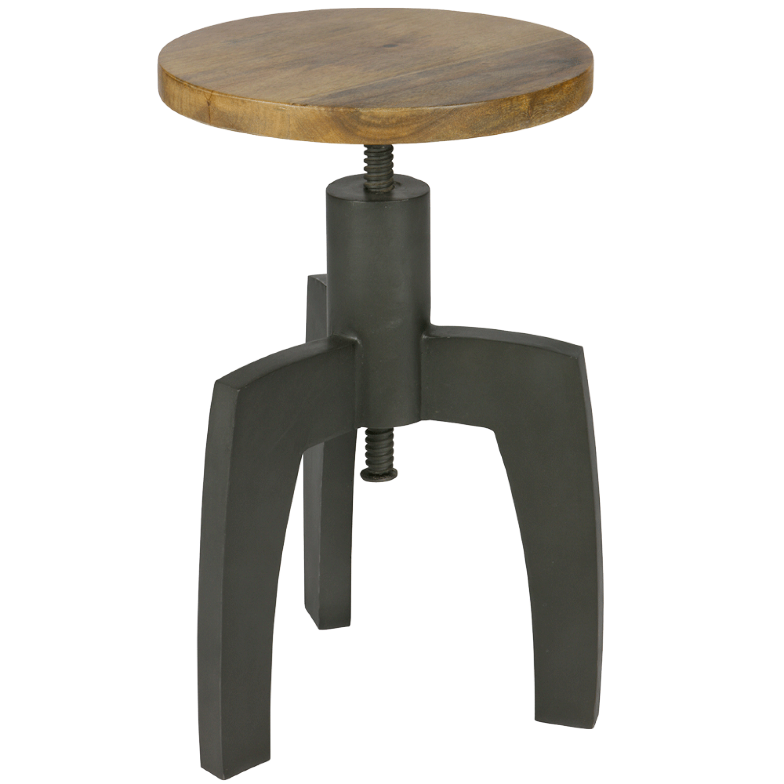 Adjustable Space stool Wood seat Black metal
