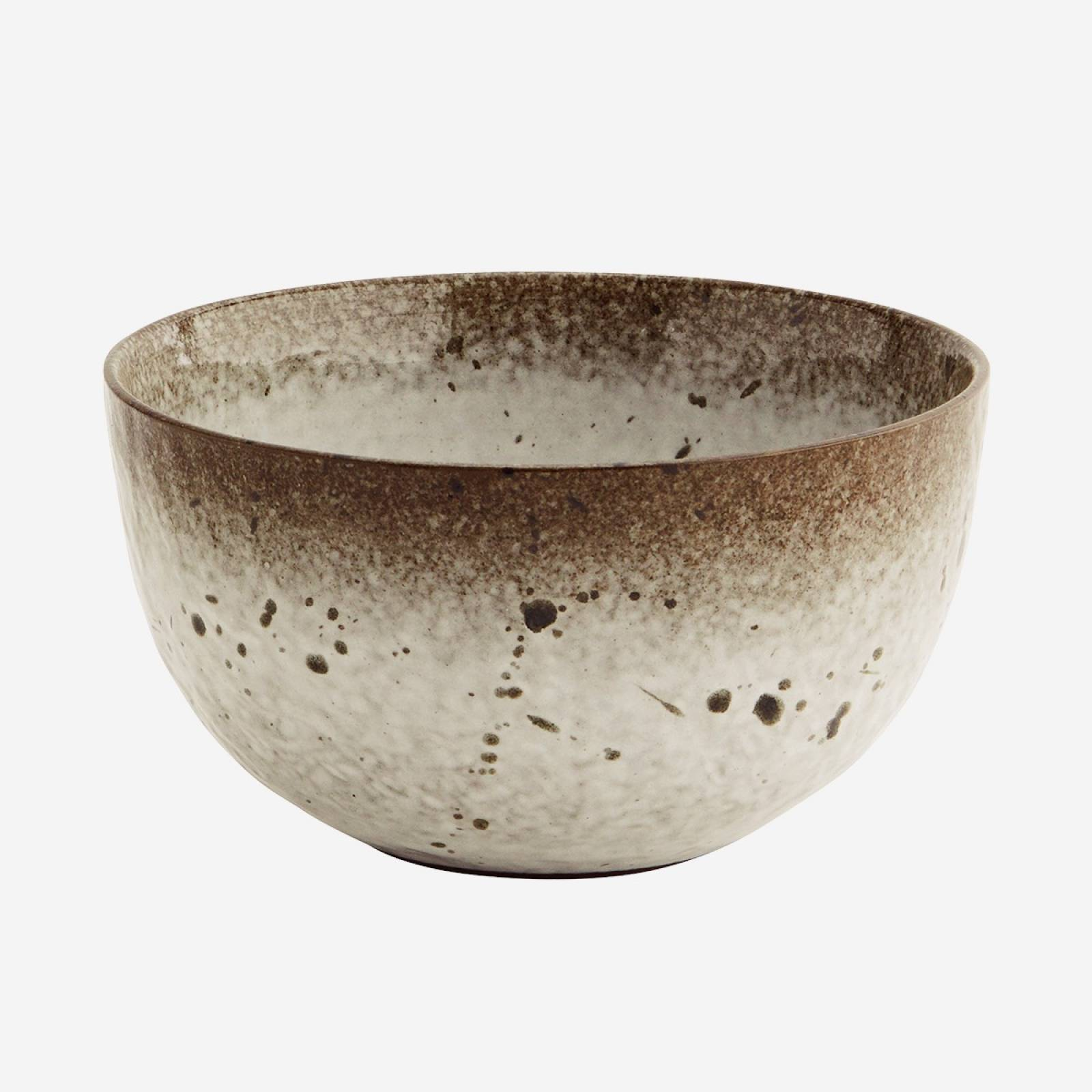 Speckled Stoneware Bowl In Brown & White