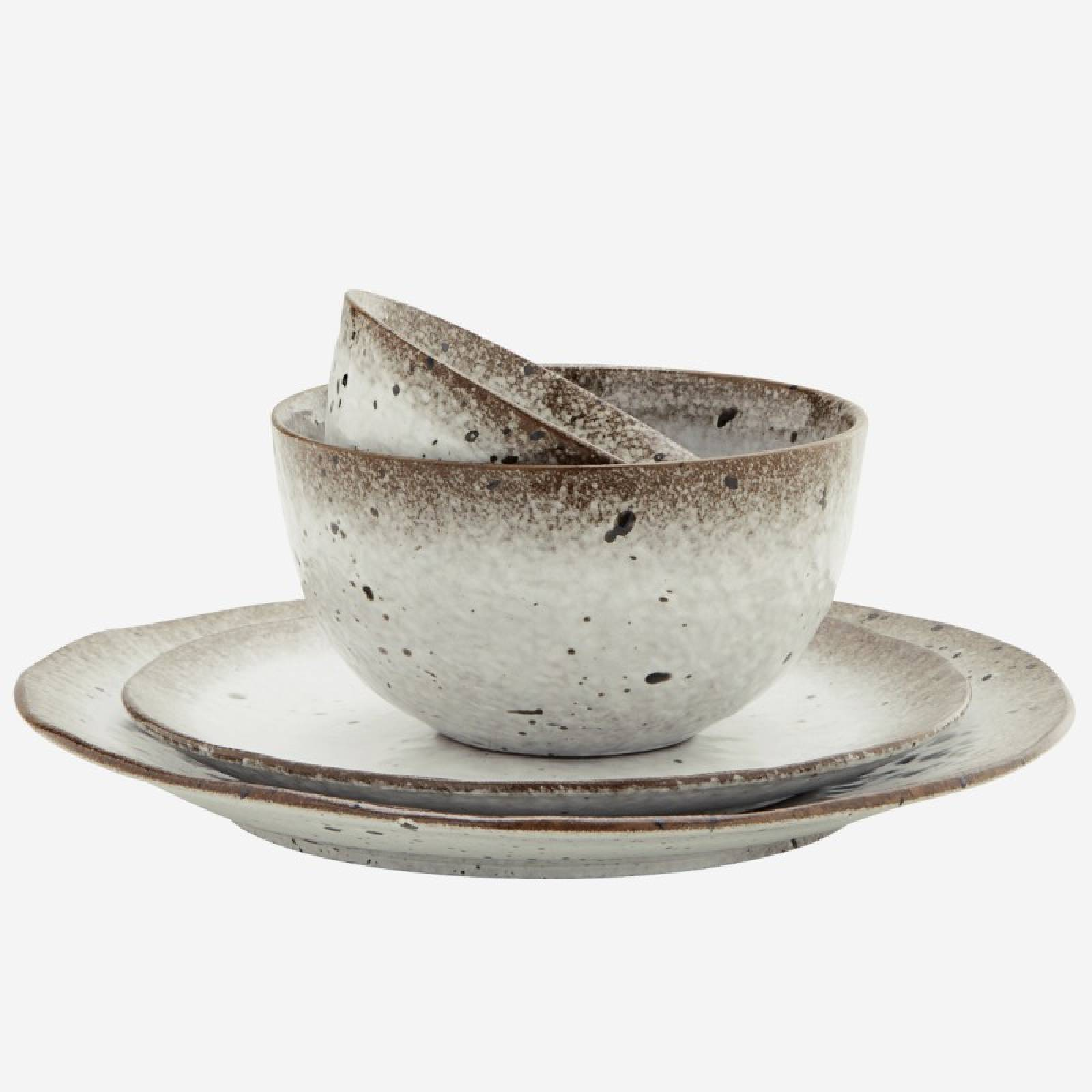Speckled Stoneware Bowl In Brown & White thumbnails