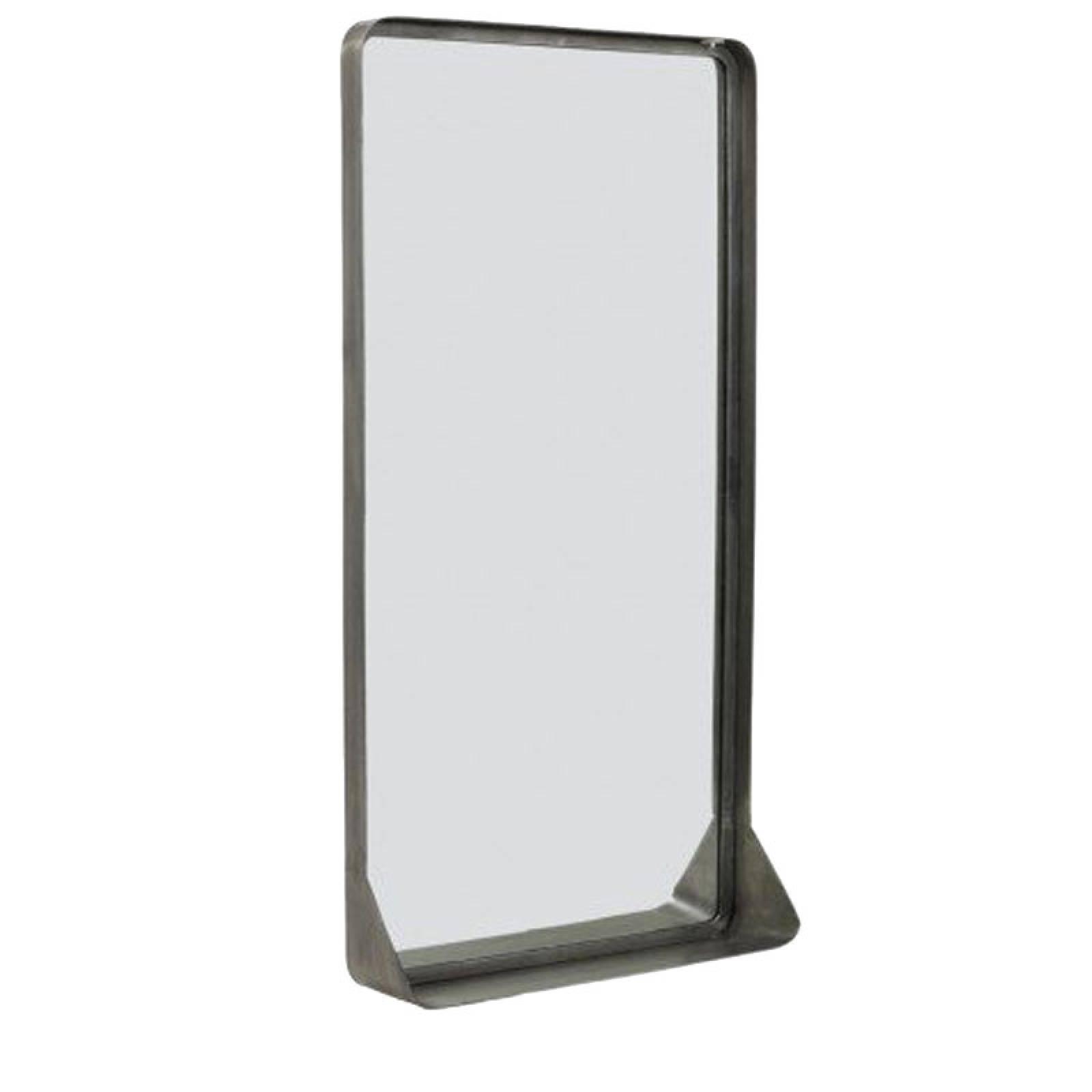 Pausi Rectangular Zinc Mirror With Shelf