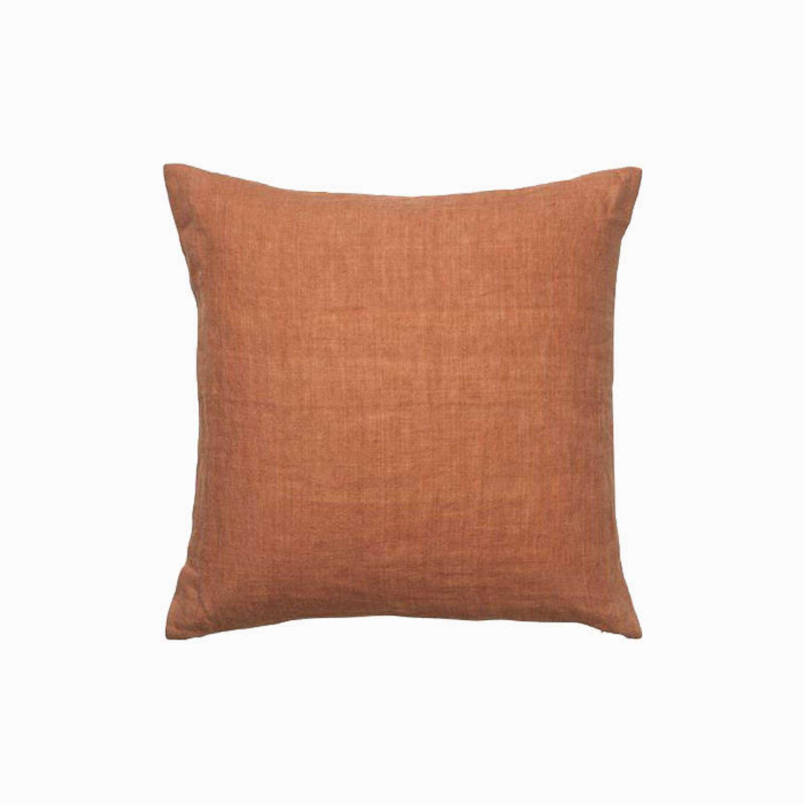 Square Linen Cushion In Spice