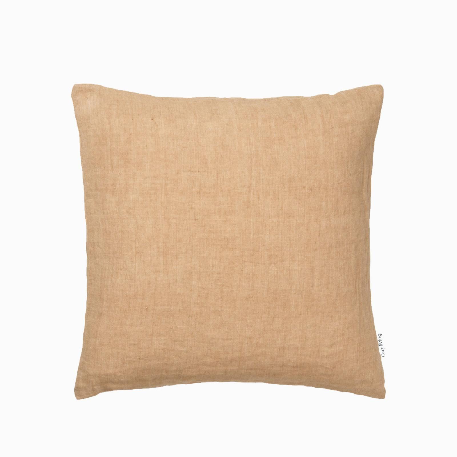 Square Linen Cushion In Caramel