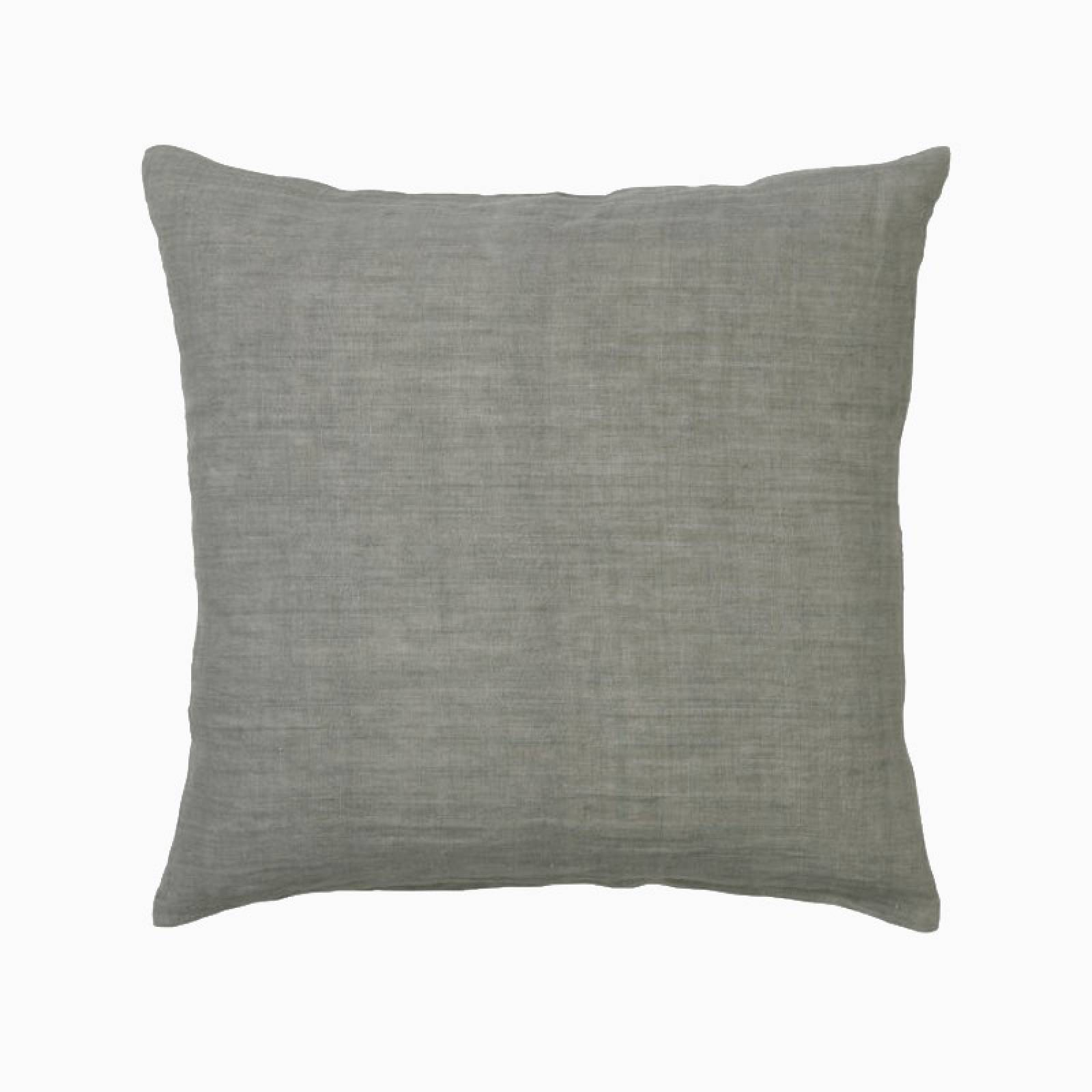 Square Linen Cushion In Kale Green