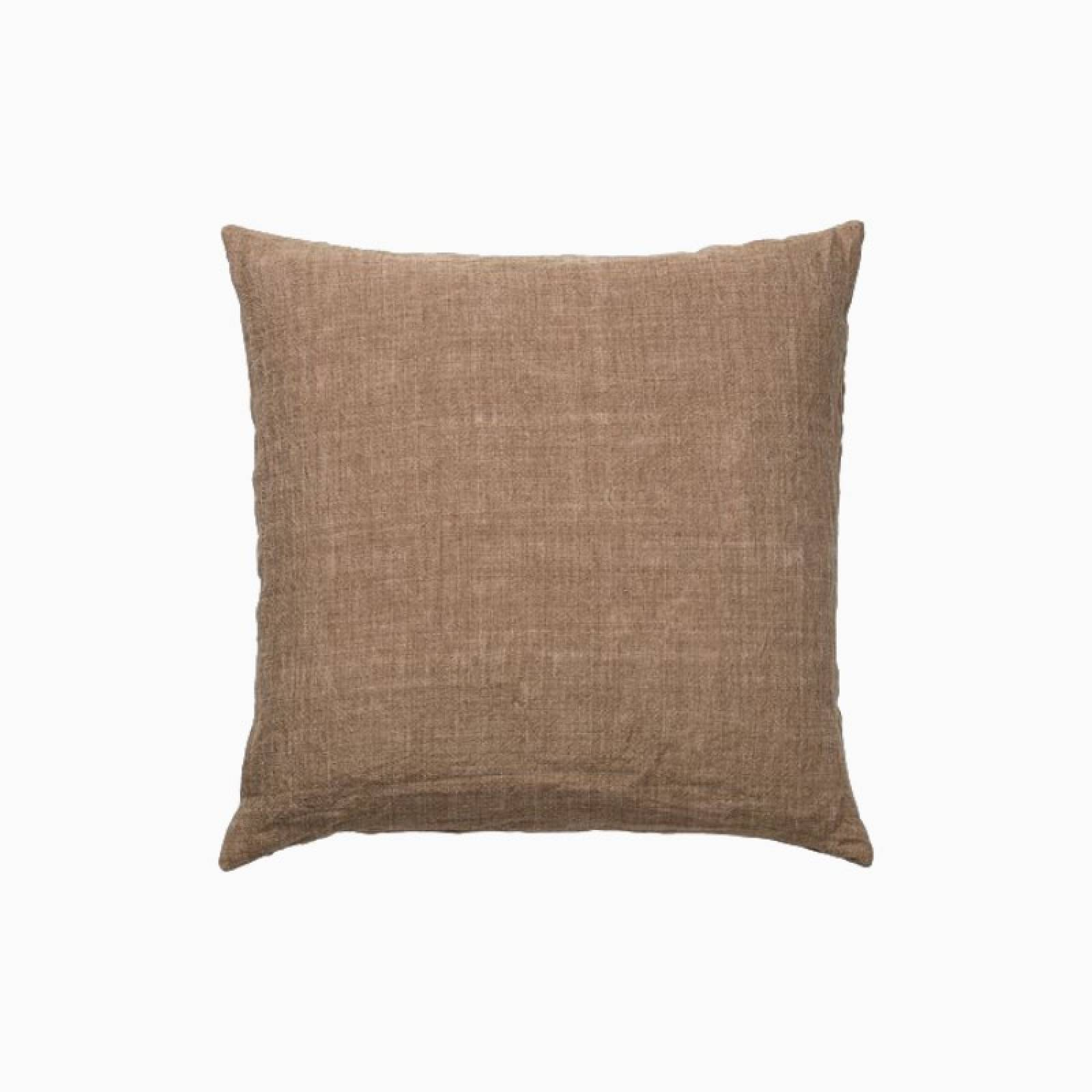 Square Linen Cushion In Mustard