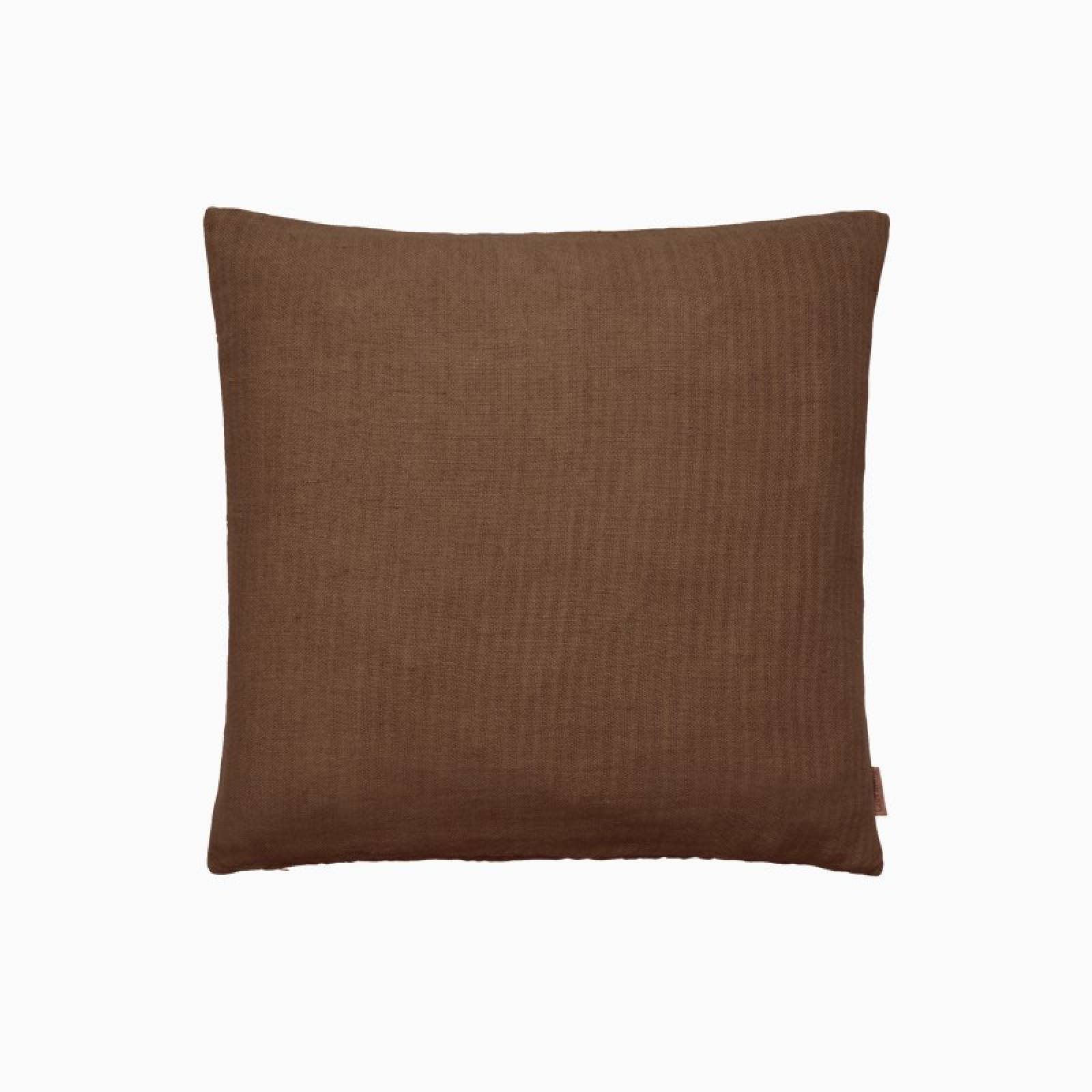 Square Linen Cushion In Rustic Earth
